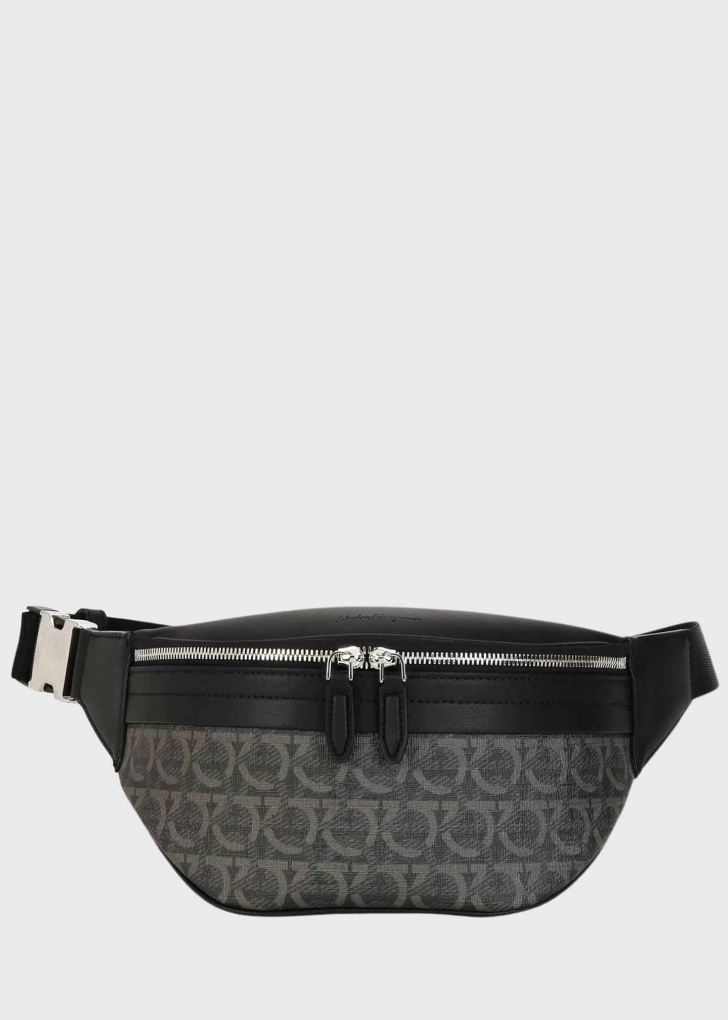 Salvatore Ferragamo Men's Gancini-Print Leather Belt Bag/Fanny