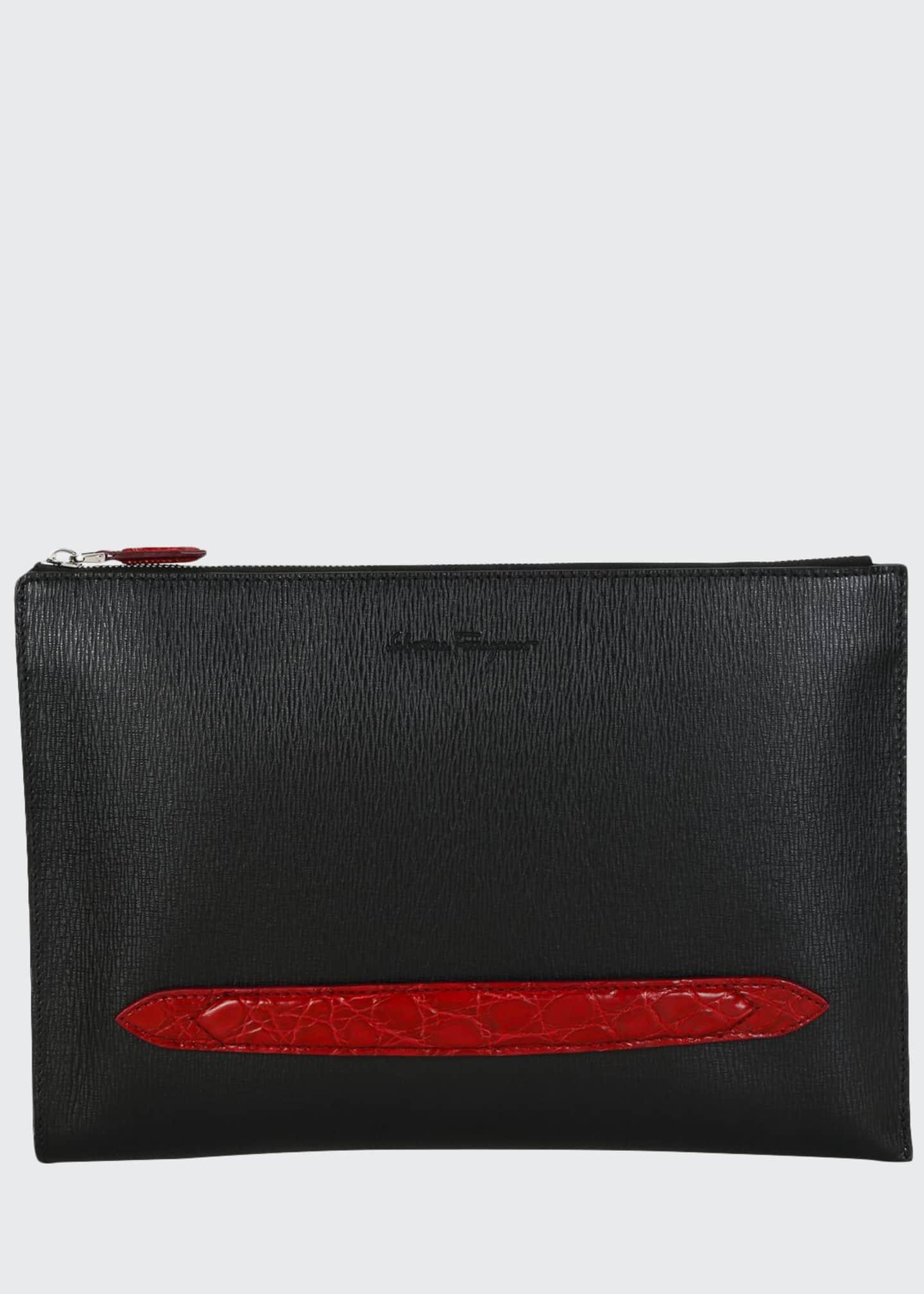 Salvatore Ferragamo Men's Crocodile Revival Textured Leather