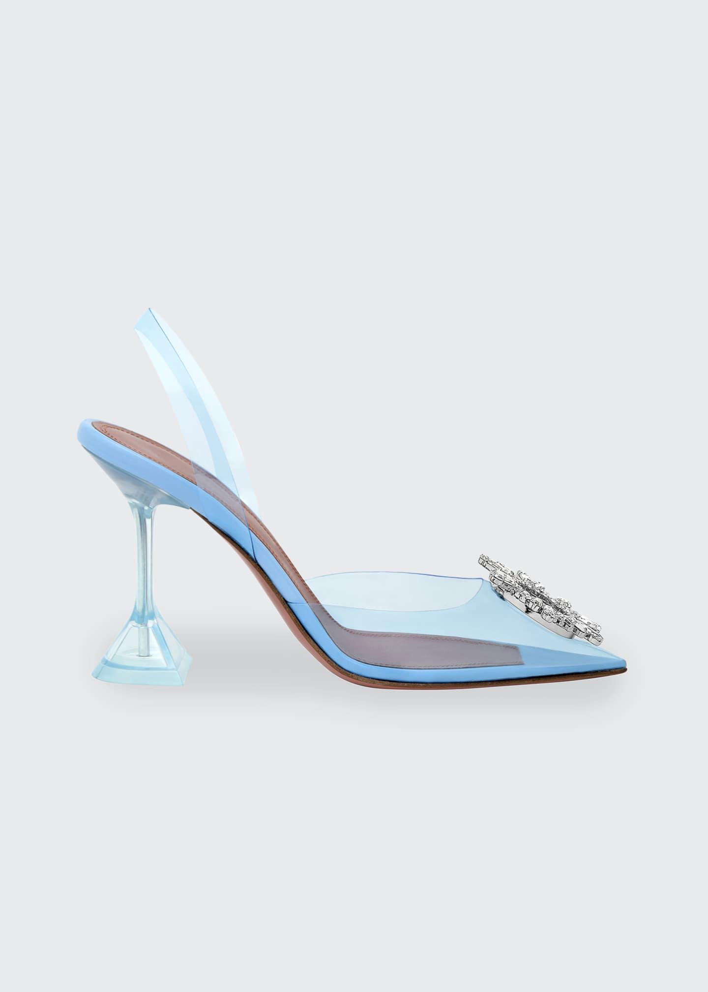 Amina Muaddi Begum Glass Transparent Sandals