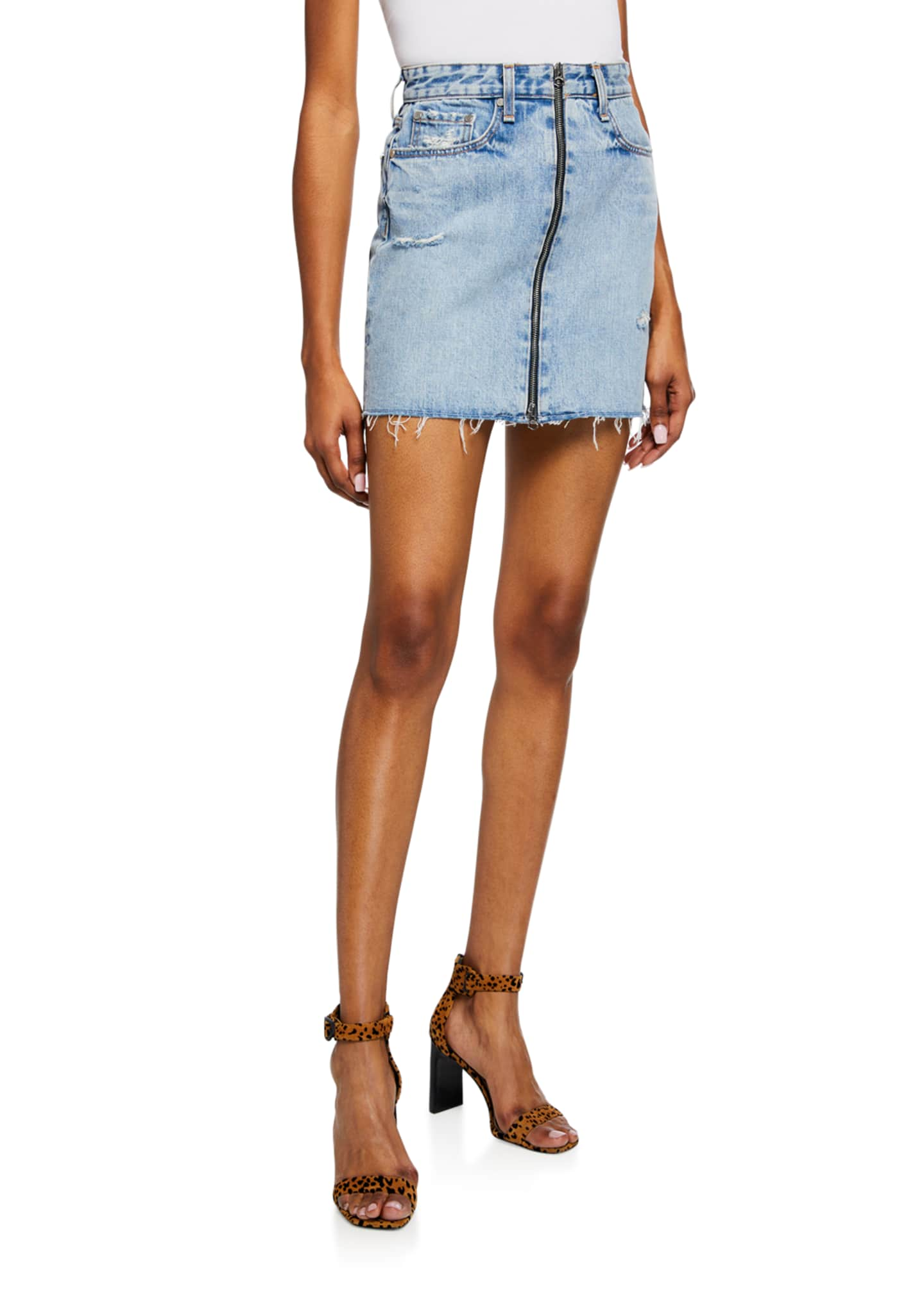 Rag & Bone Anna Zip-Front Frayed Denim Mini