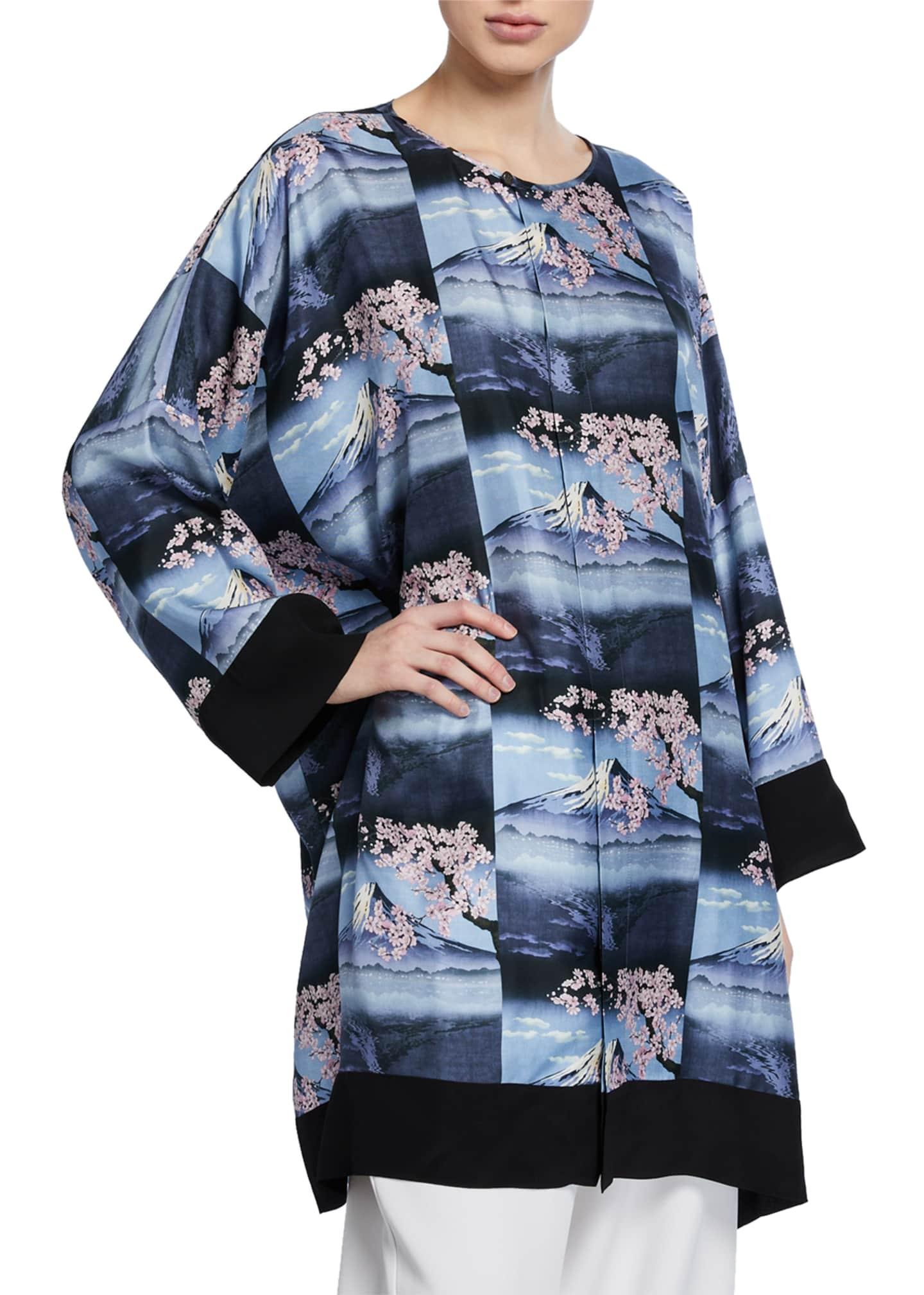 Eskandar Mount Fuji Repeated-Print Bound Neck Shirt