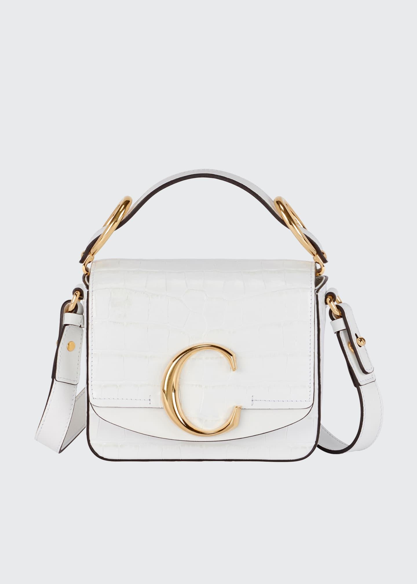 Chloe C Mini Croc-Embossed Calfskin Crossbody Bag