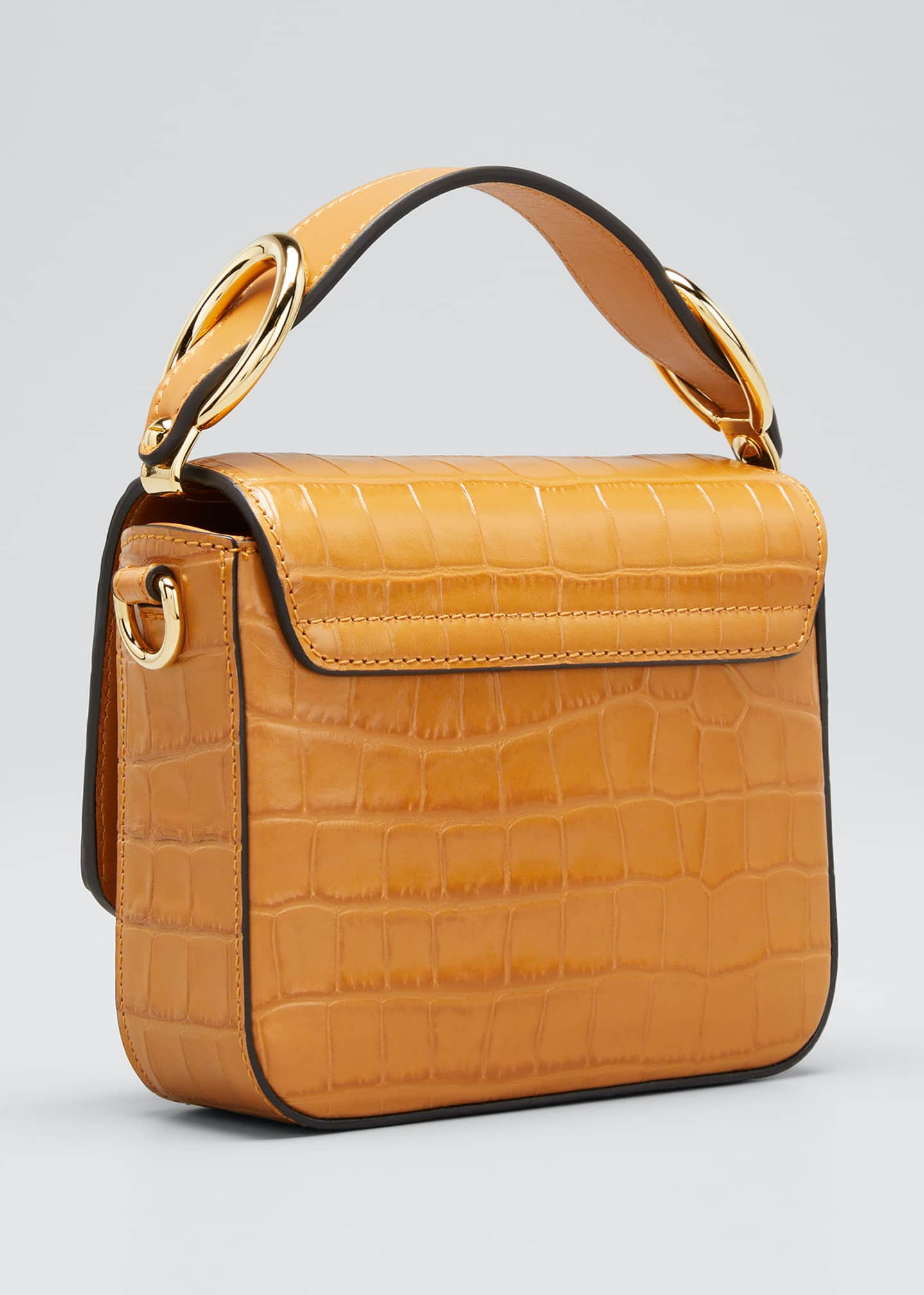 Image 3 of 5: C Mini Croc-Embossed Calfskin Crossbody Bag