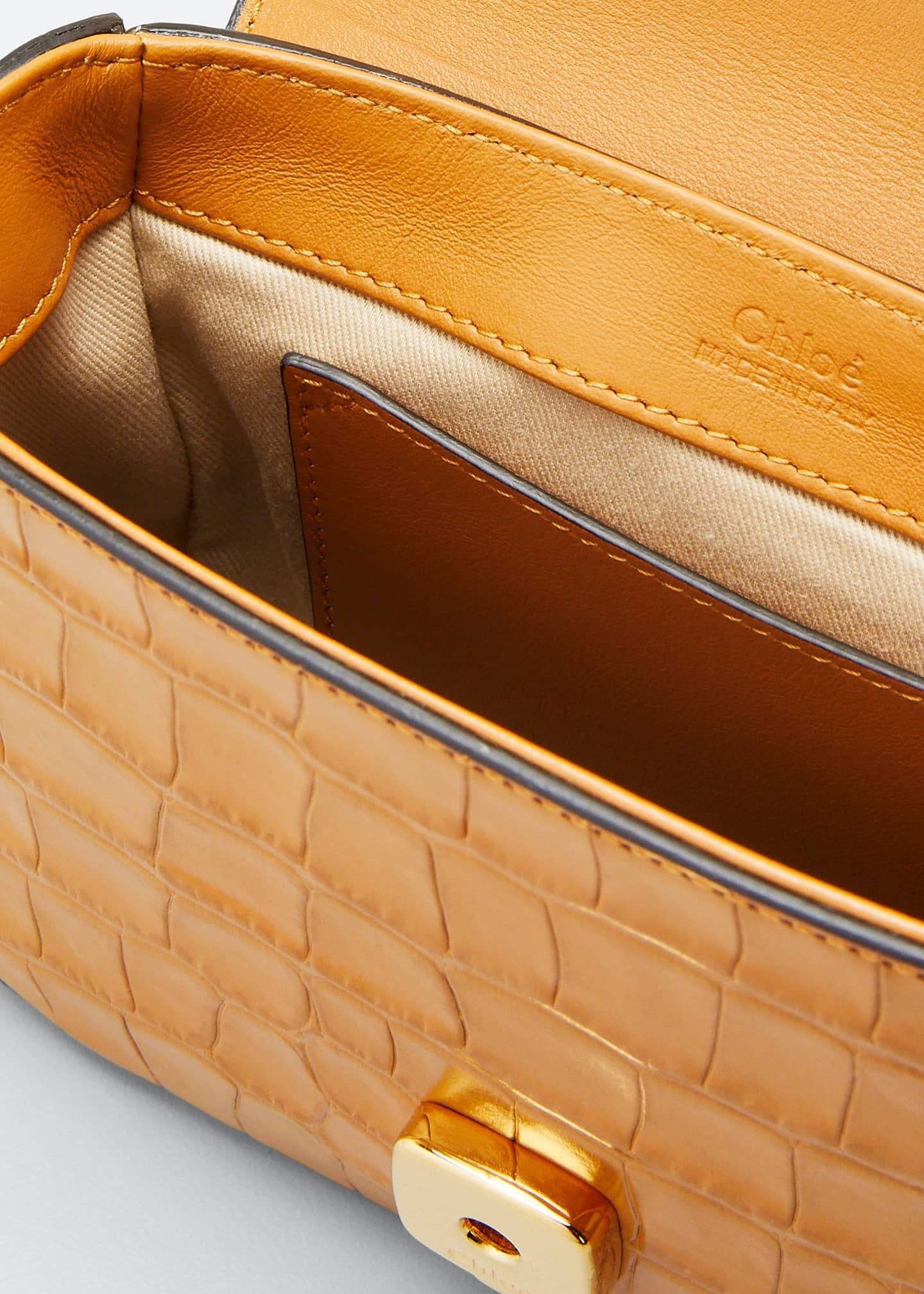 Image 4 of 5: C Mini Croc-Embossed Calfskin Crossbody Bag