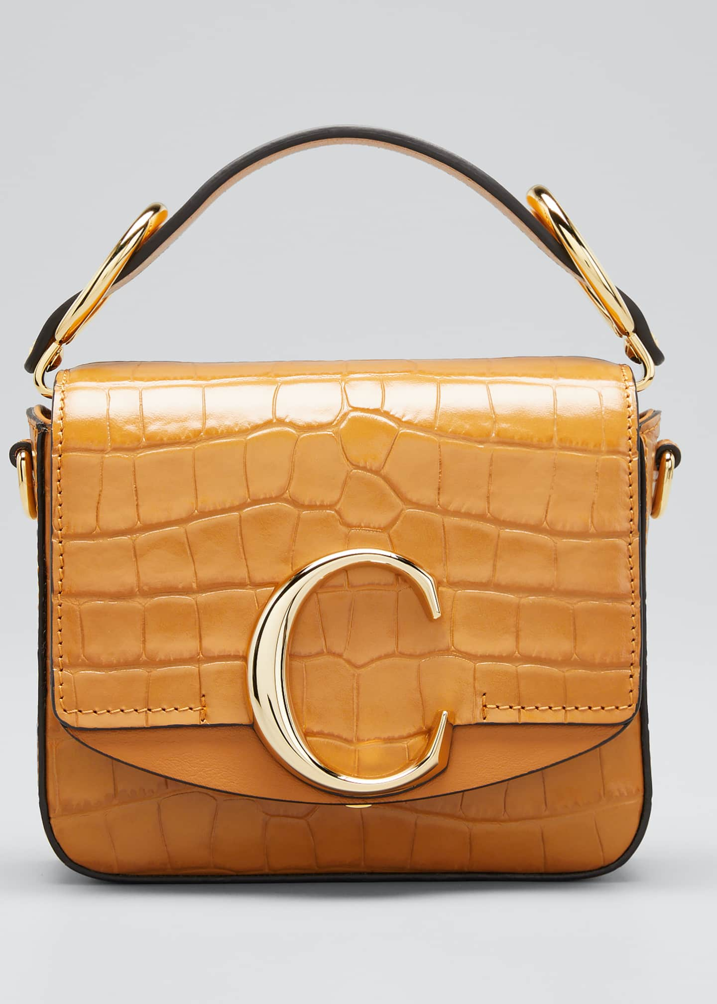 Image 1 of 5: C Mini Croc-Embossed Calfskin Crossbody Bag