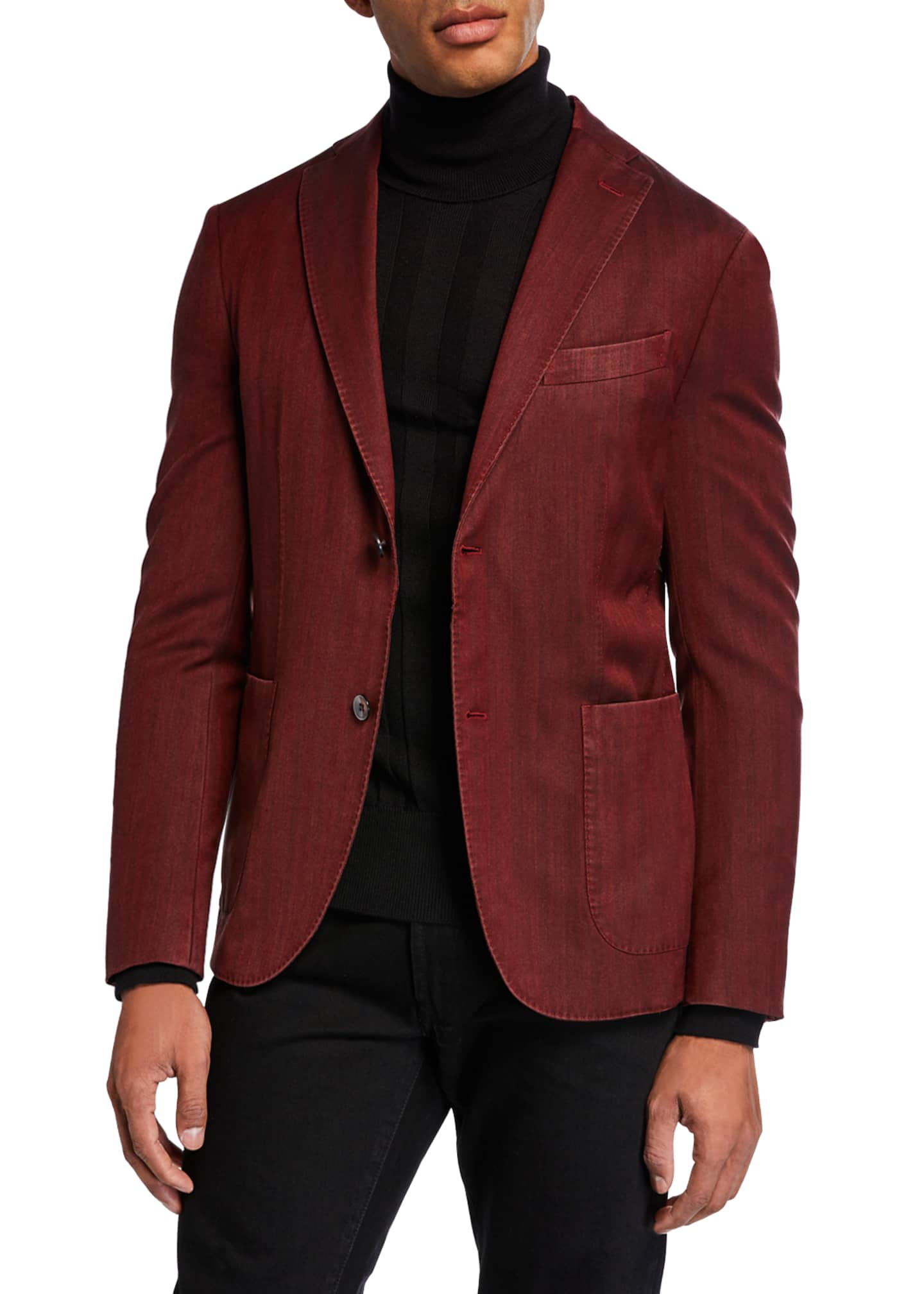 Image 1 of 4: Men's Herringbone Two-Button Jacket