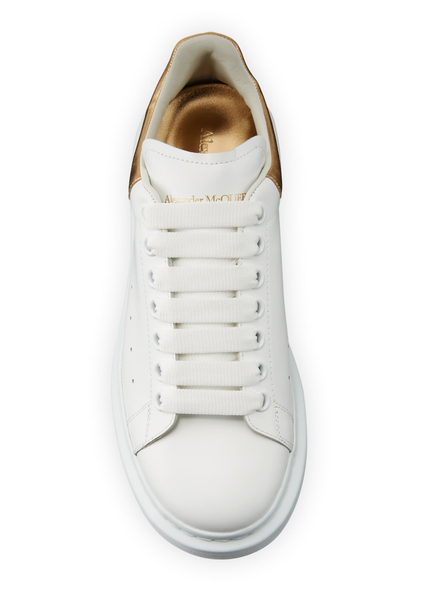 Image 2 of 3: Men's Leather Platform Sneakers with Metallic Back