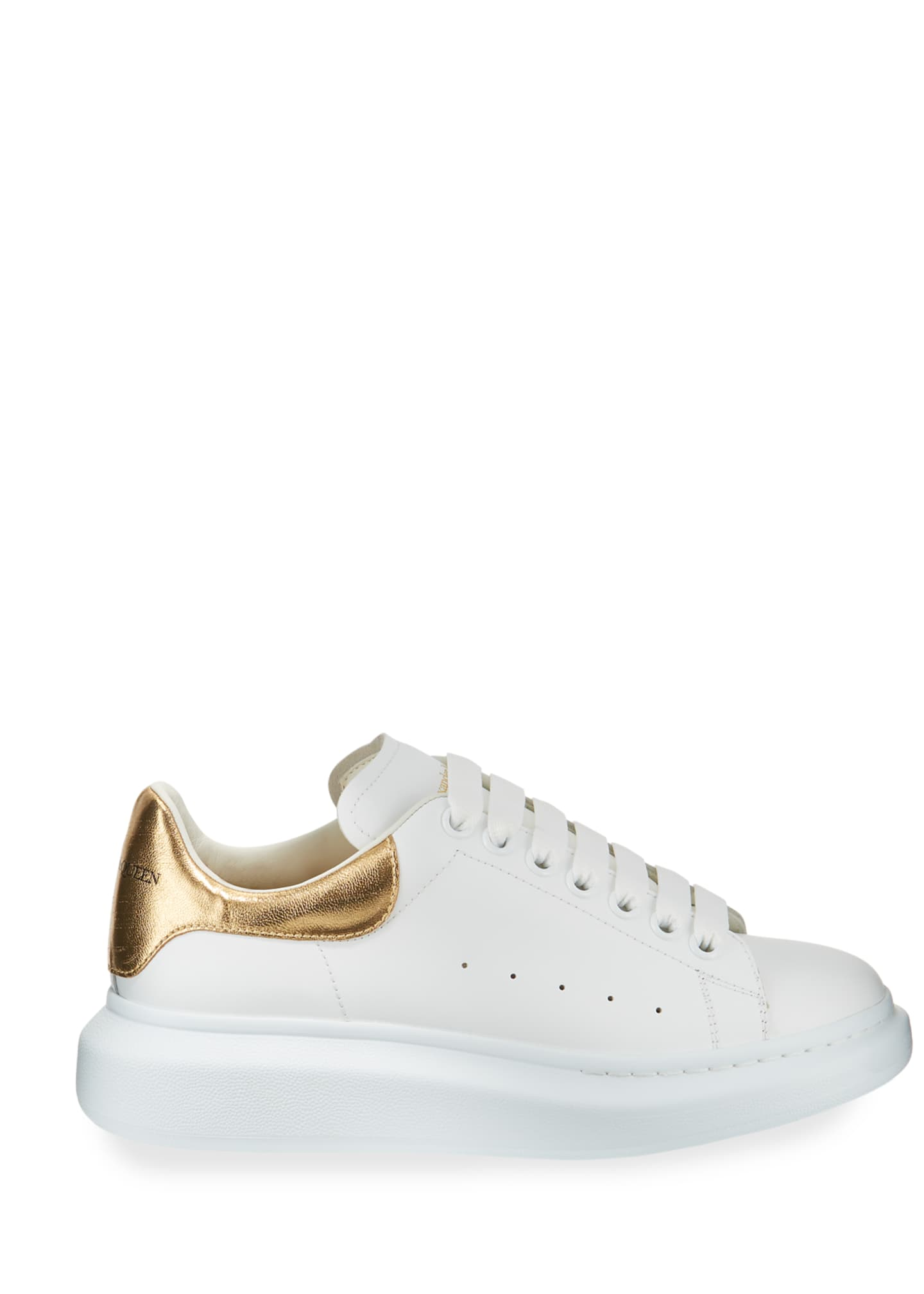 Image 3 of 3: Men's Leather Platform Sneakers with Metallic Back