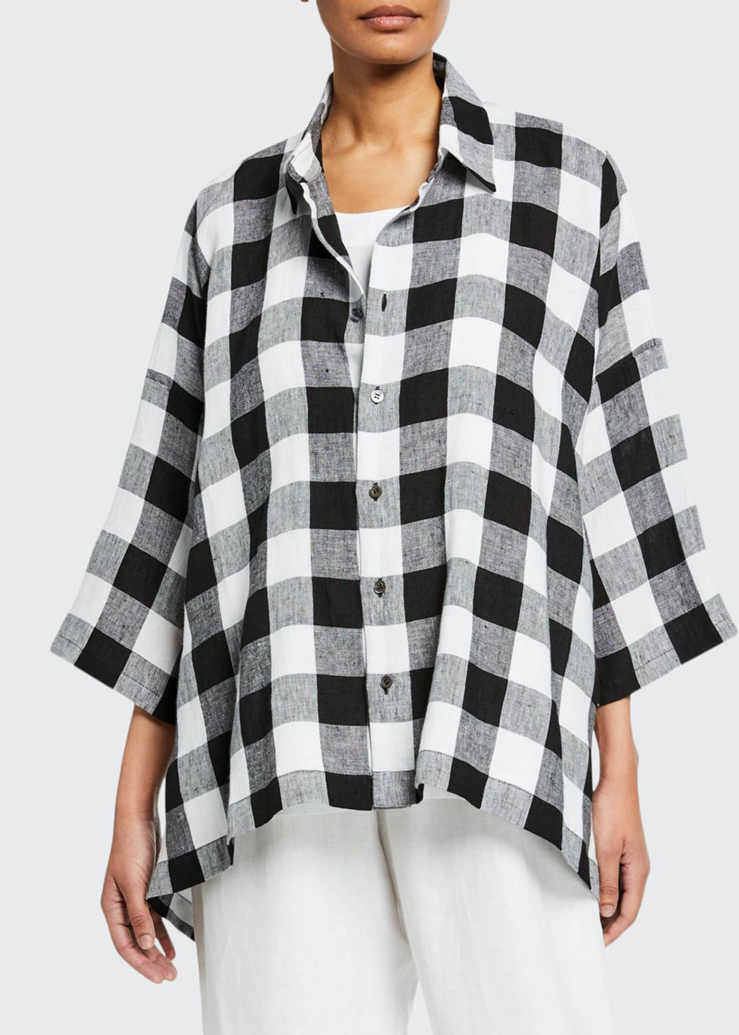 Eskandar 3/4-Sleeve Gingham Linen Button-Front Shirt