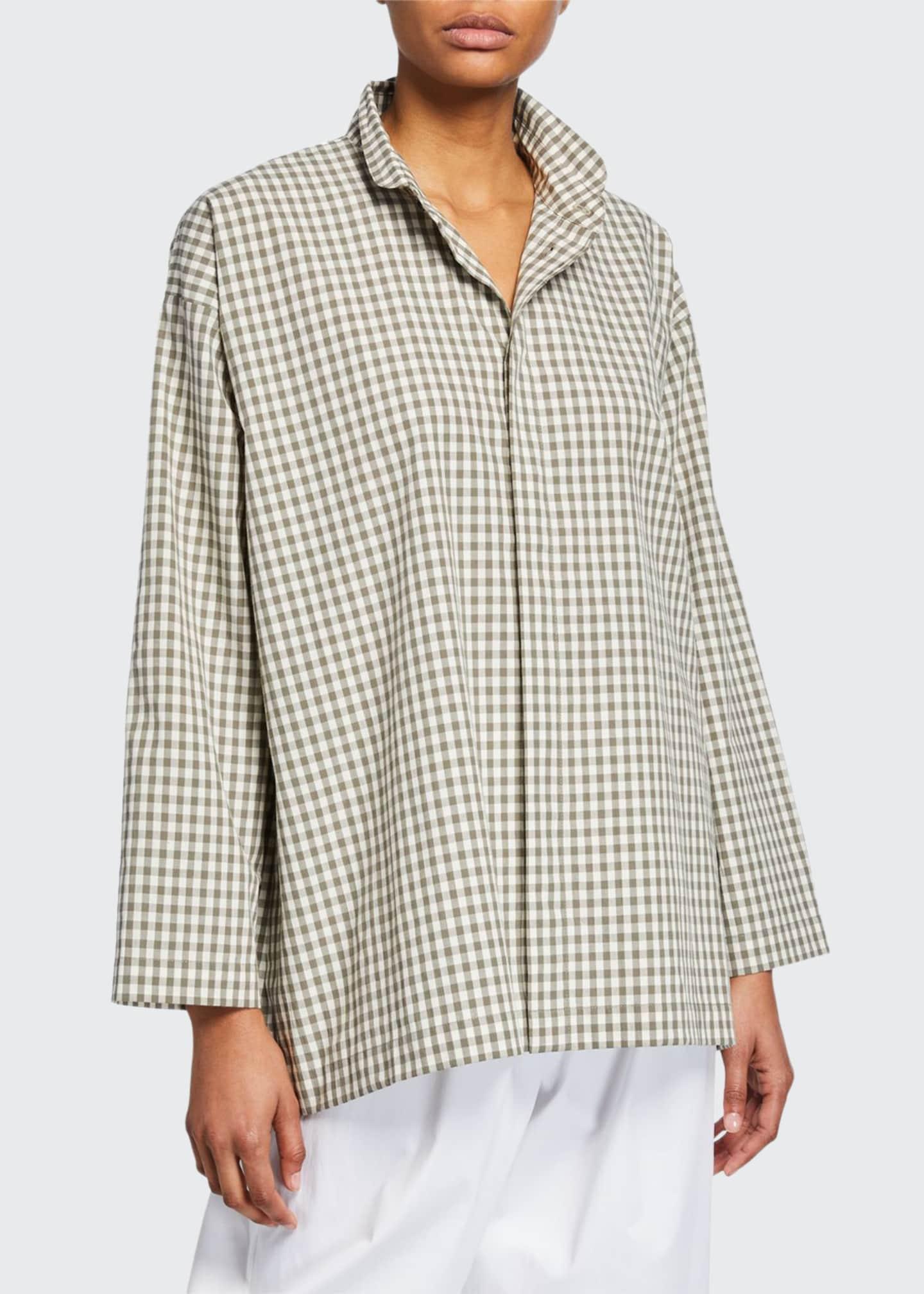 Eskandar Slim Gingham A-Line Cotton Shirt