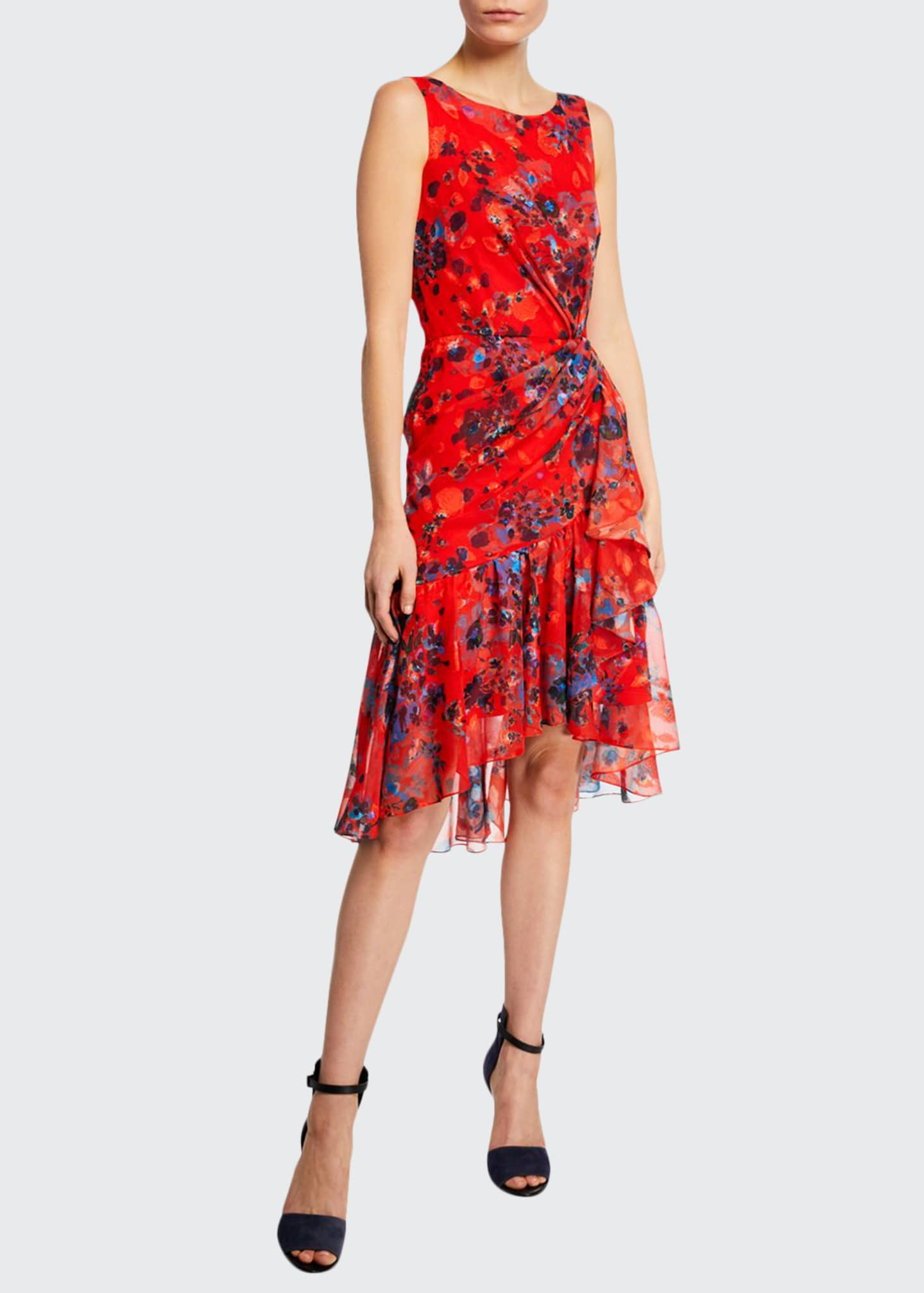 Marchesa Notte Burnout Floral-Print Sleeveless Chiffon Dress w/