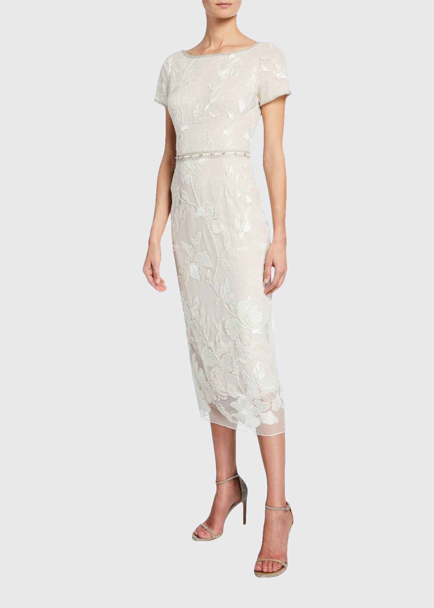 Marchesa Notte Short-Sleeve Metallic Floral Embroidered Sheath