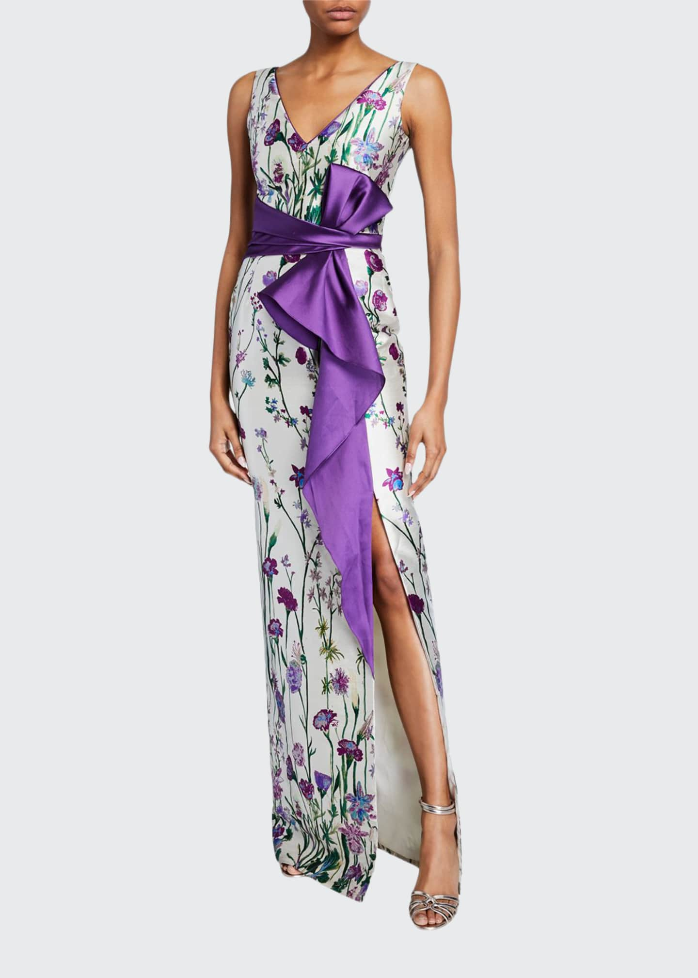 Marchesa Notte Floral-Print V-Neck Sleeveless Mikado Gown w/