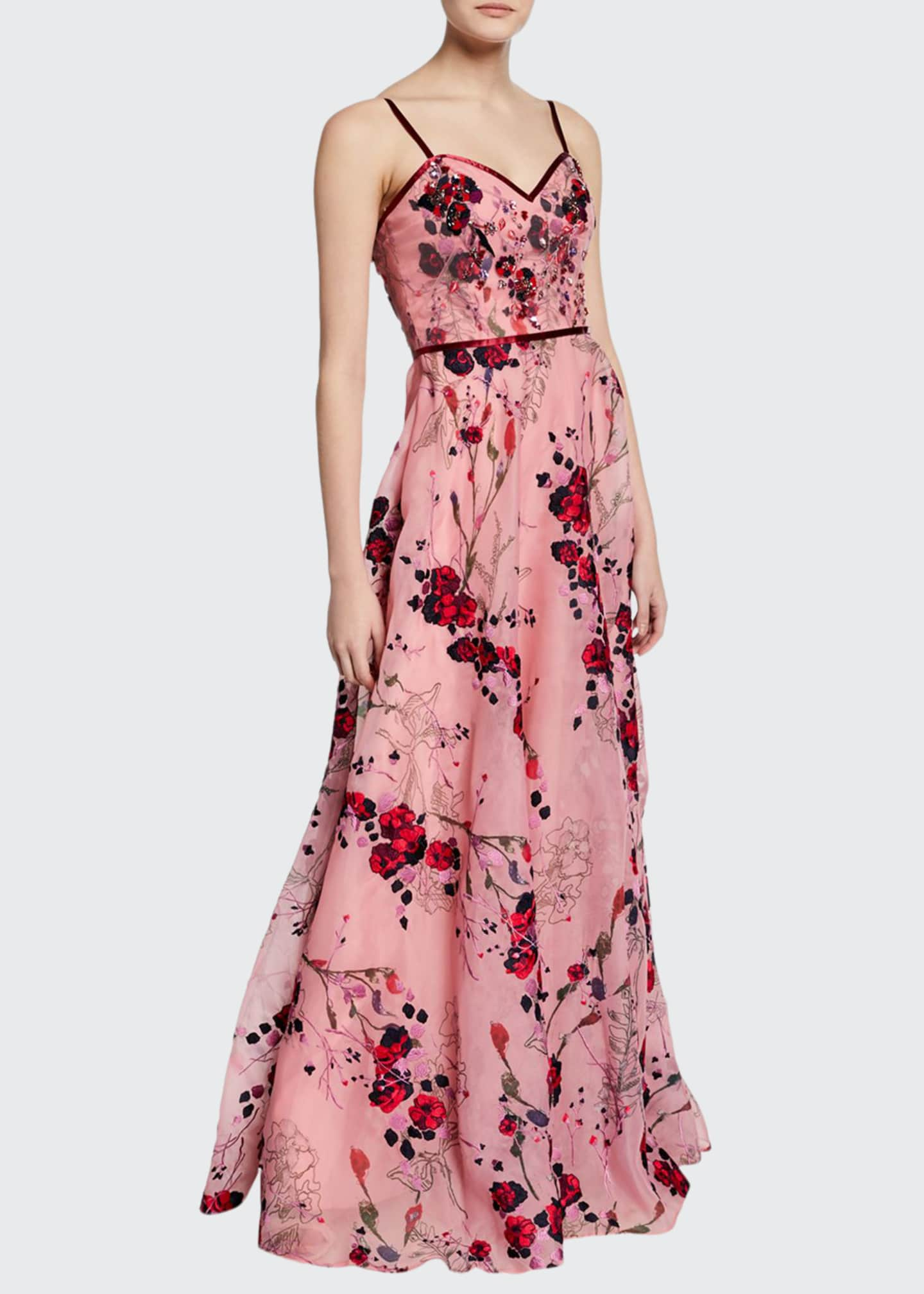 Marchesa Notte Printed Floral-Embroidered Sleeveless Organza Gown