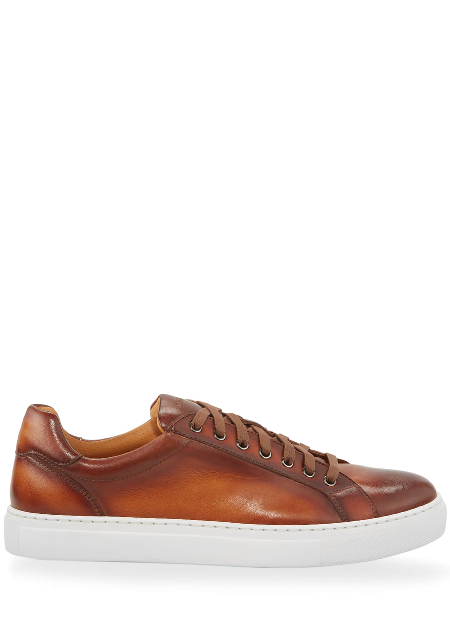 Image 2 of 3: Men's Napa Leather Low-Top Sneakers