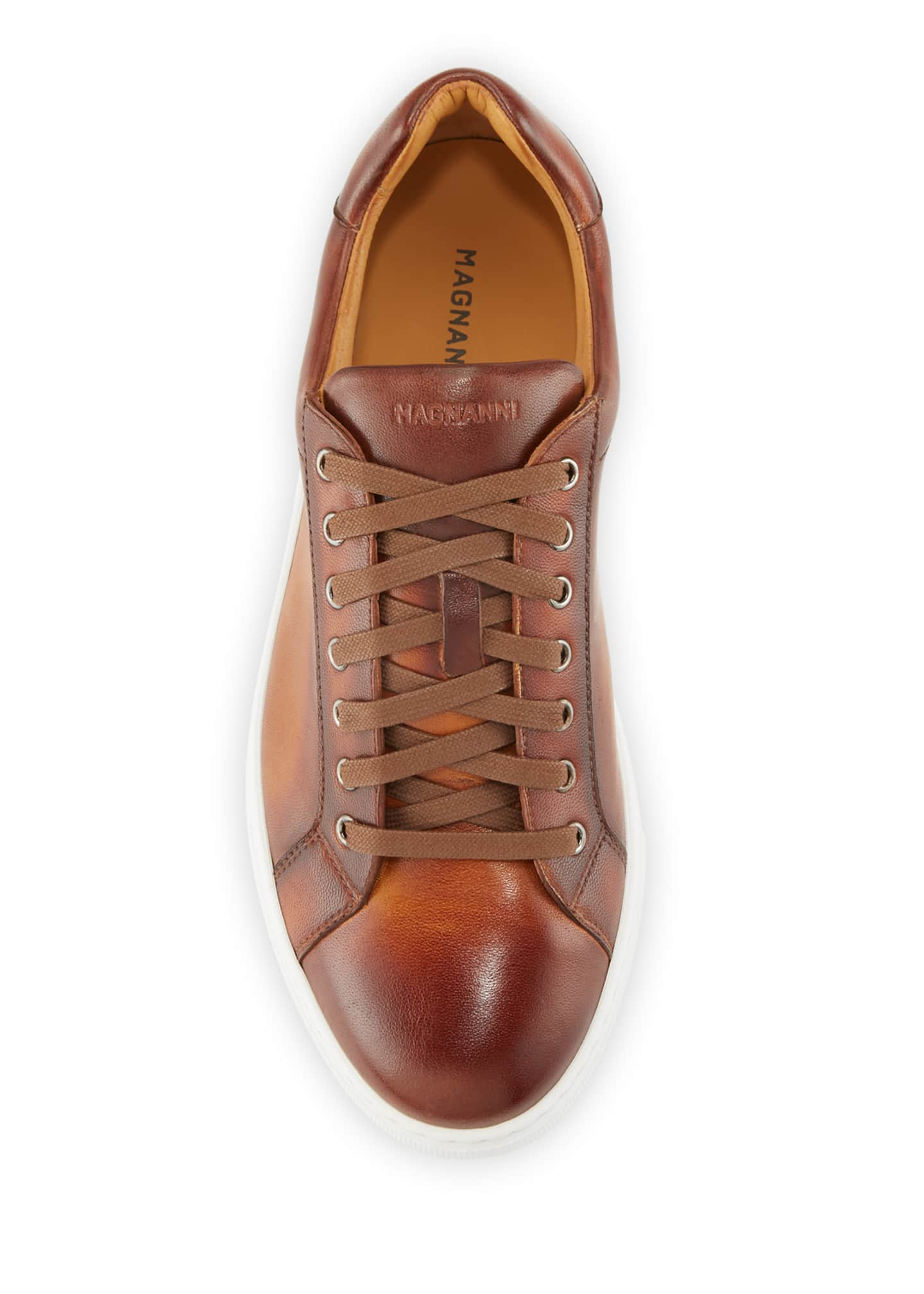 Image 3 of 3: Men's Napa Leather Low-Top Sneakers
