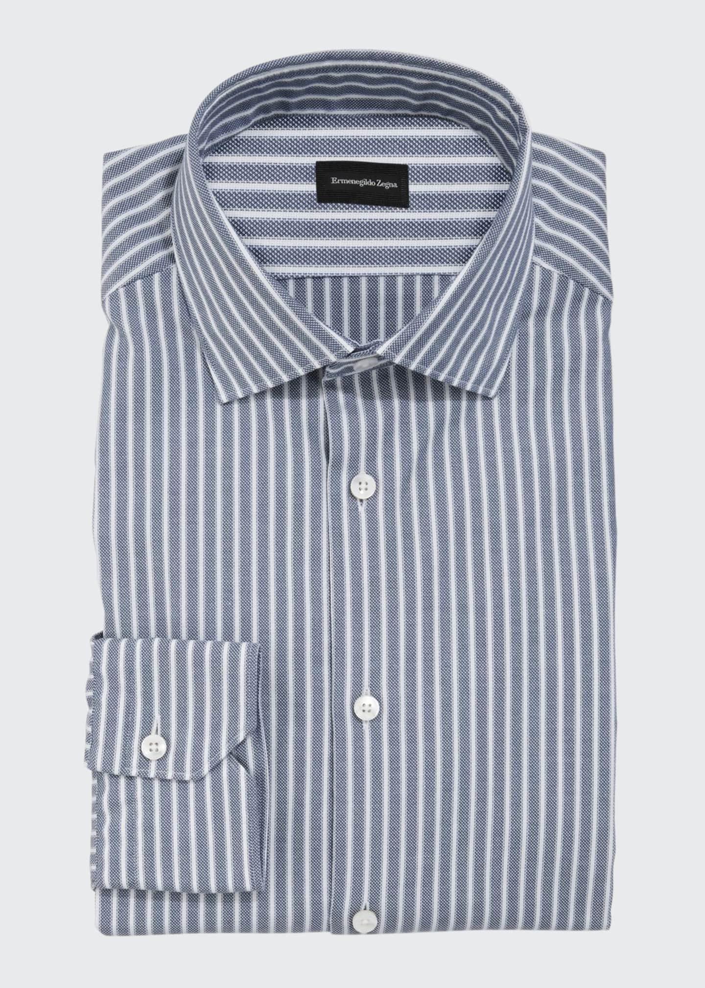 Ermenegildo Zegna Men's Oxford Stripe Cotton Dress Shirt