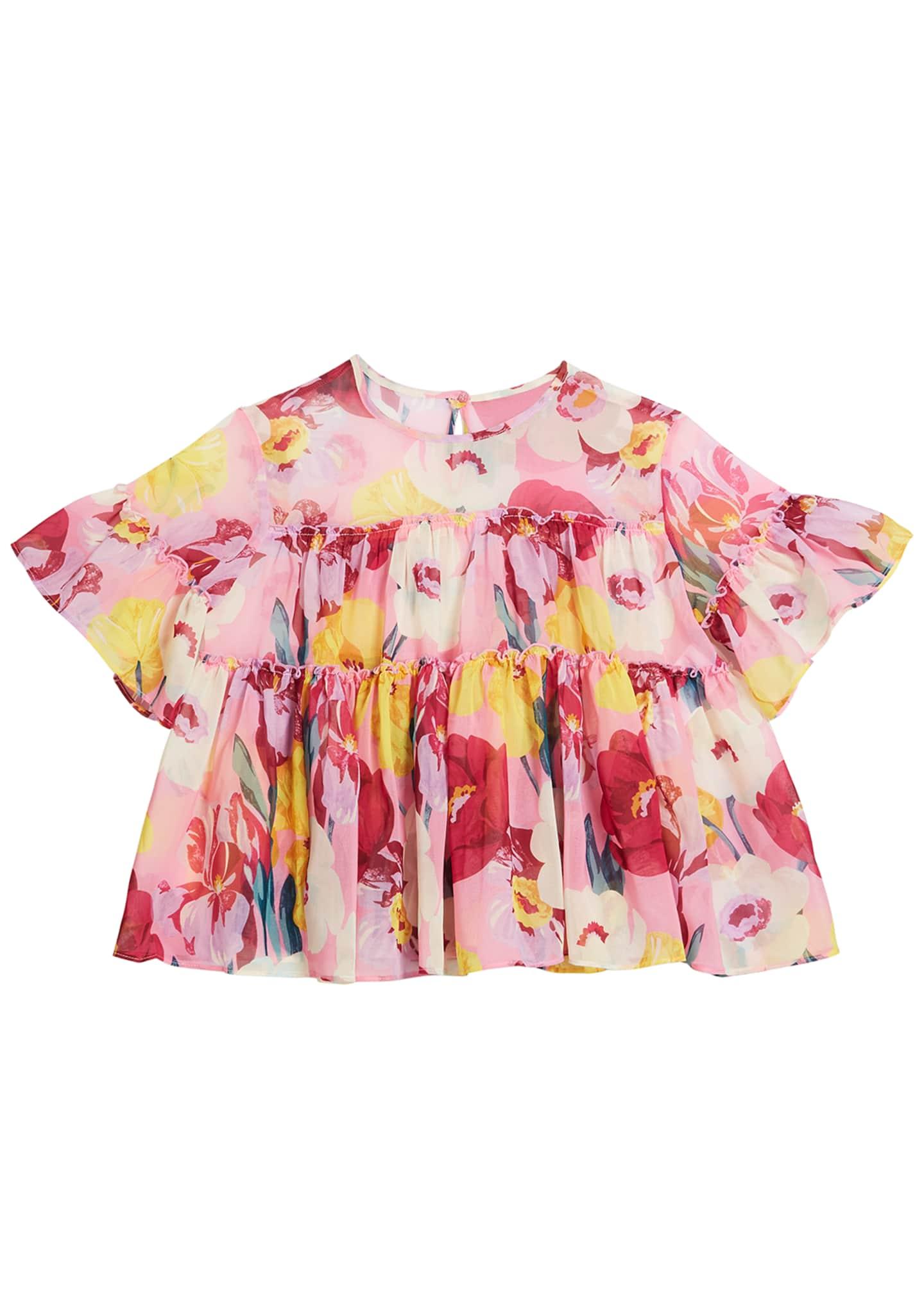 Mayoral Floral Print Chiffon Blouse, Size 8-16