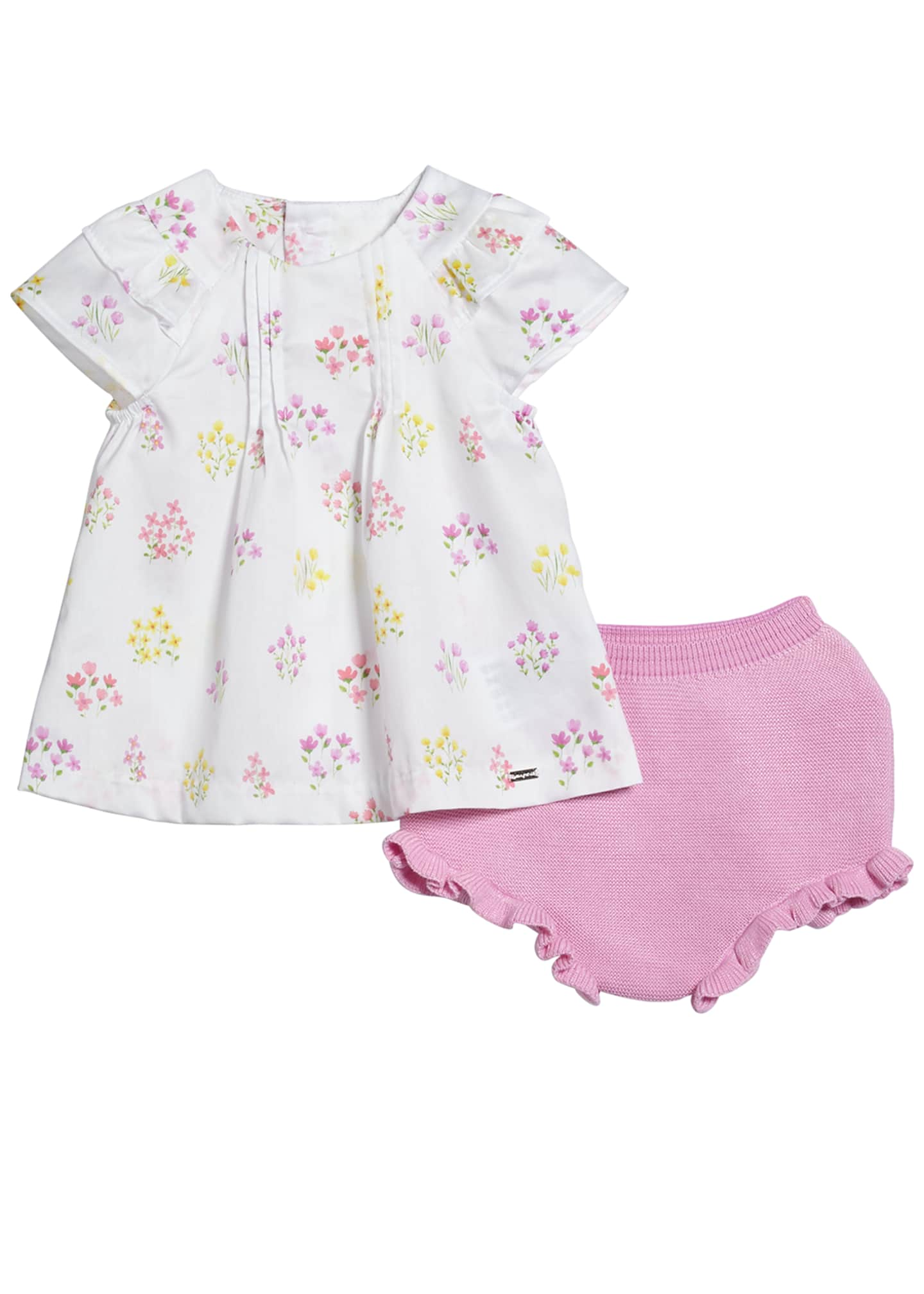 Mayoral Floral Pintucked Blouse w/ Knit Bloomers, Size