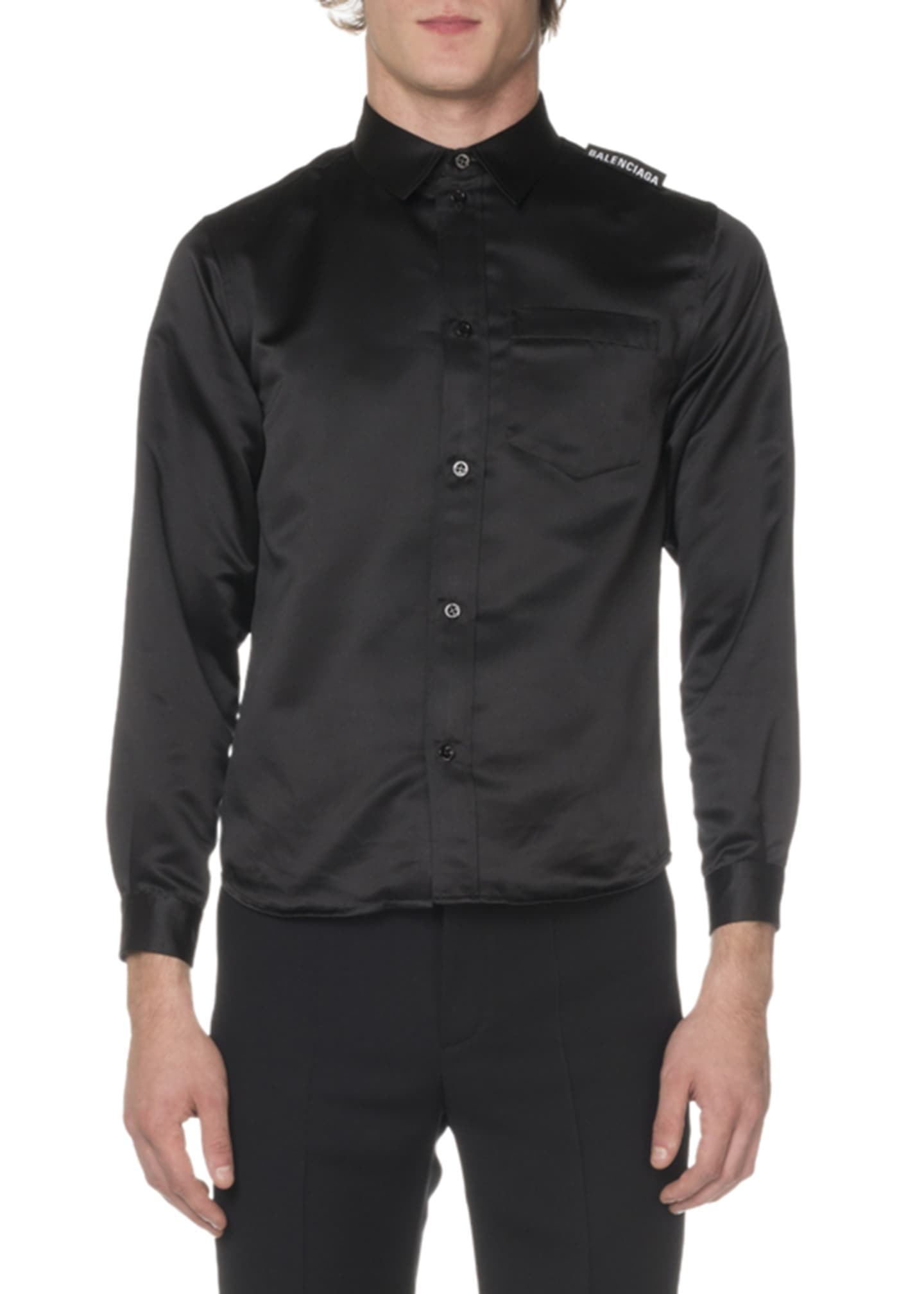 Balenciaga Men's Long-Sleeve Oversized Twill Sport Shirt