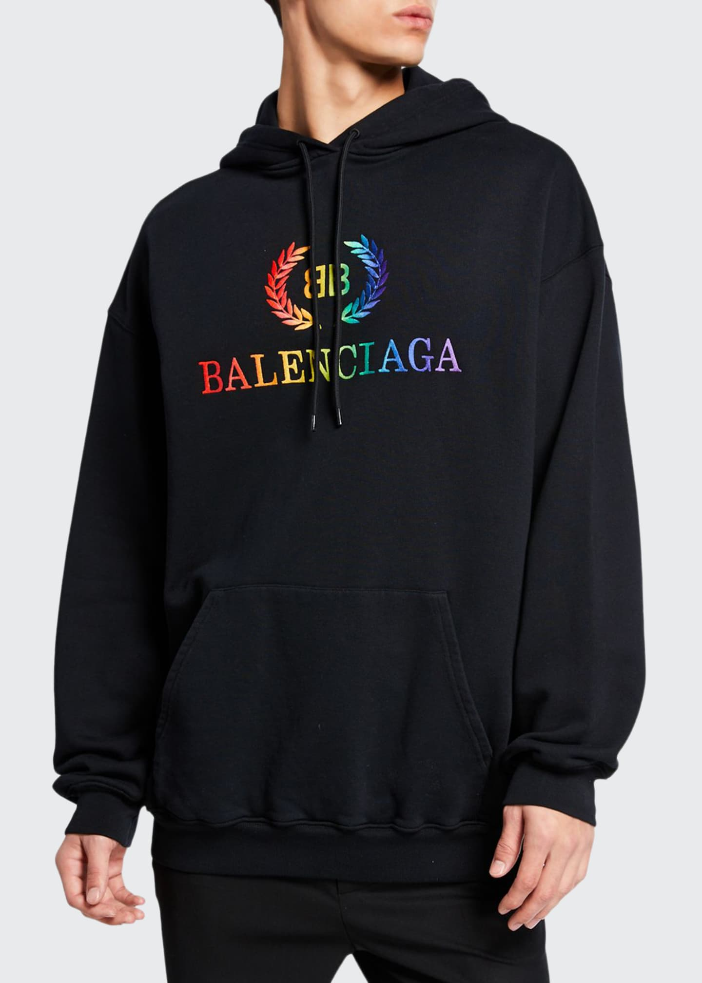 Balenciaga Men's Laurier Rainbow-Logo Embroidered Hoodie
