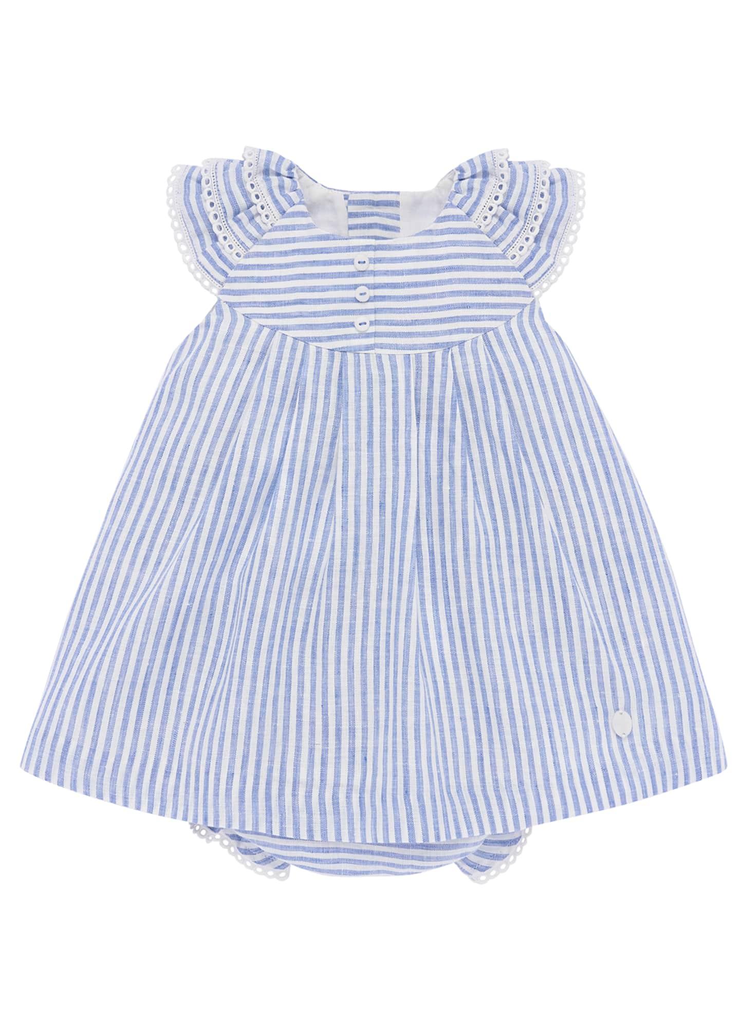 Pili Carrera Ticking Striped Dress w/ Matching Bloomers,