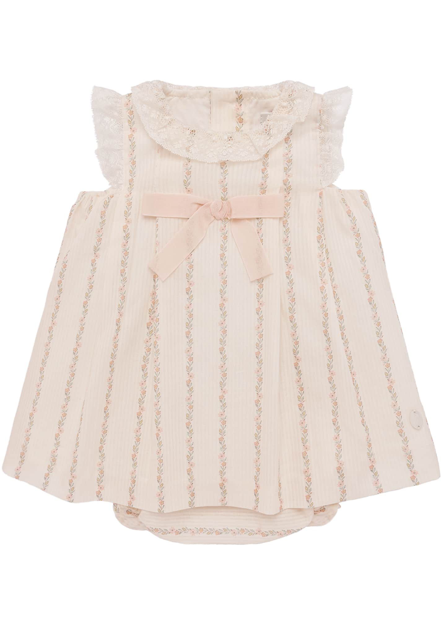 Pili Carrera Lace-Trim Floral Striped Dress w/ Bloomers,