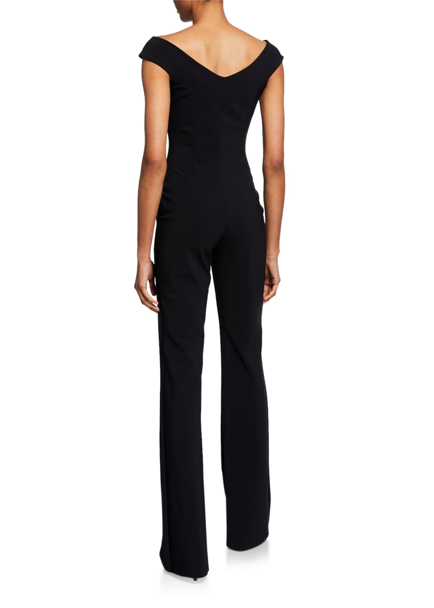 Image 2 of 2: Eirini Off-the-Shoulder Cap-Sleeve Jumpsuit with Beaded Neckline