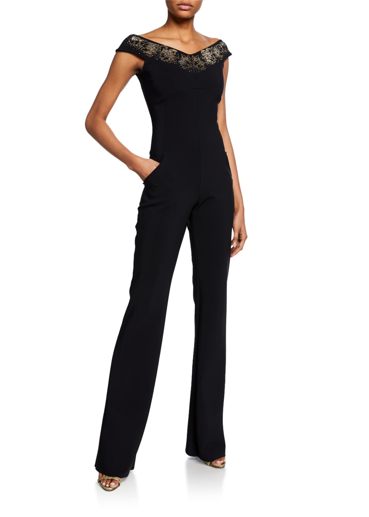 Image 1 of 2: Eirini Off-the-Shoulder Cap-Sleeve Jumpsuit with Beaded Neckline