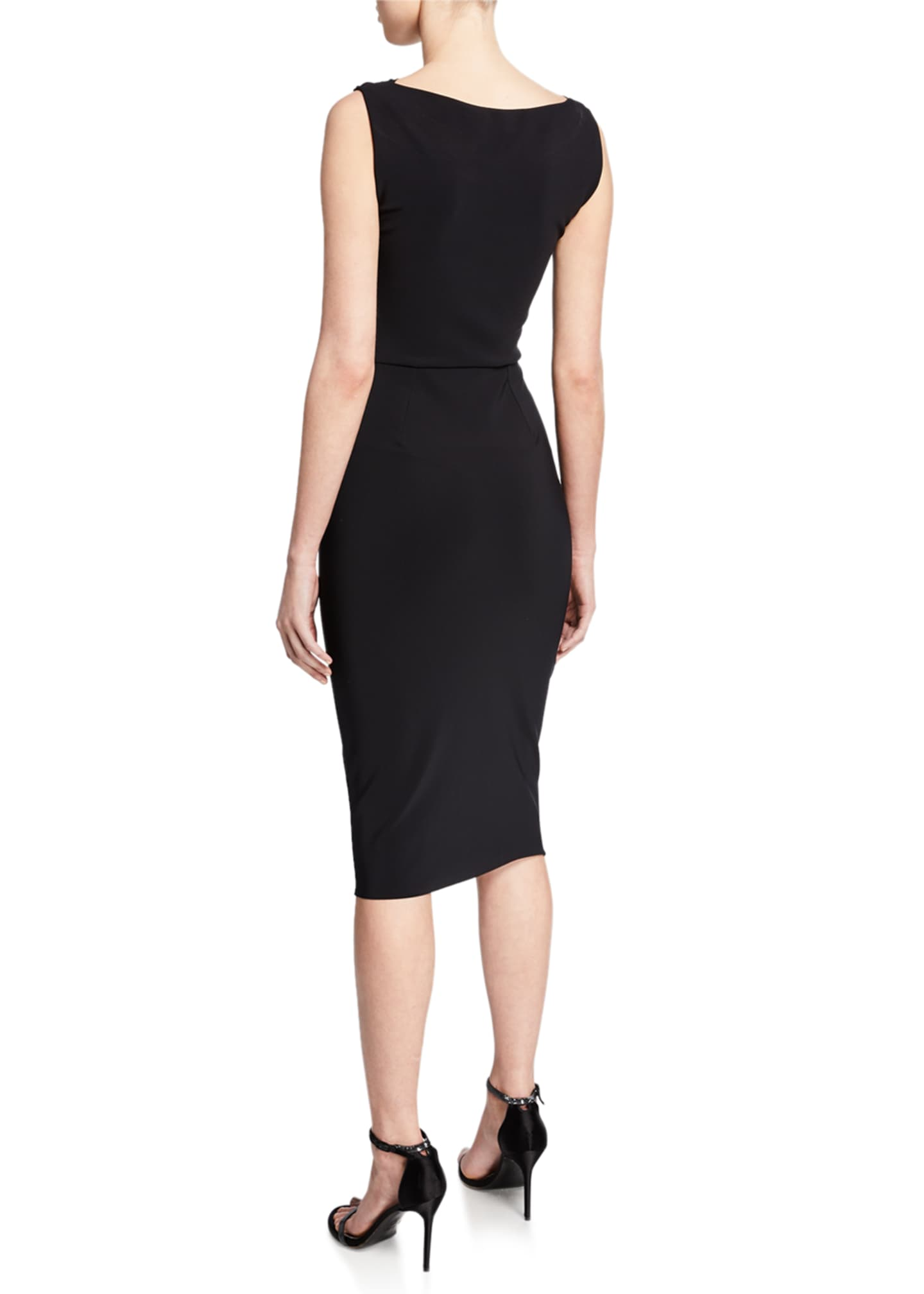 Image 2 of 2: Audrine Sleeveless Keyhole Dress with Ruched Bodice