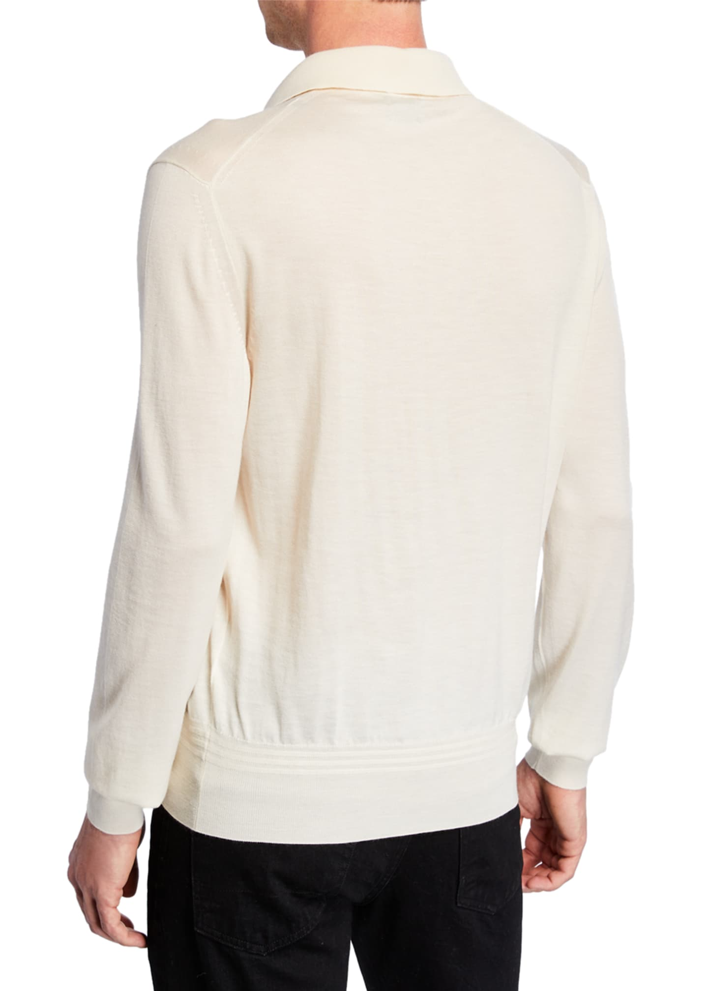 Image 2 of 2: Men's Long-Sleeve Cashmere-Silk Polo Shirt