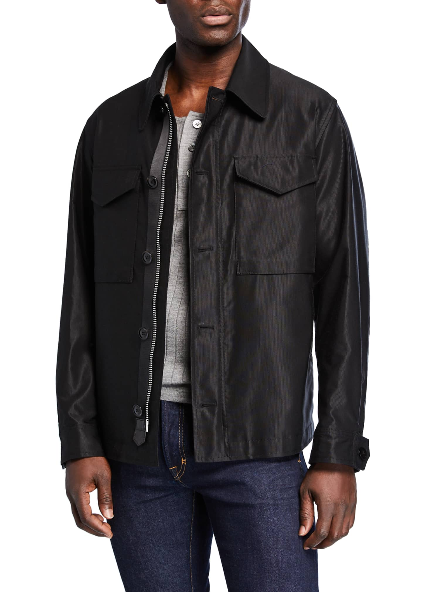 Image 1 of 3: Men's Sateen Jacket w/ Front Pockets