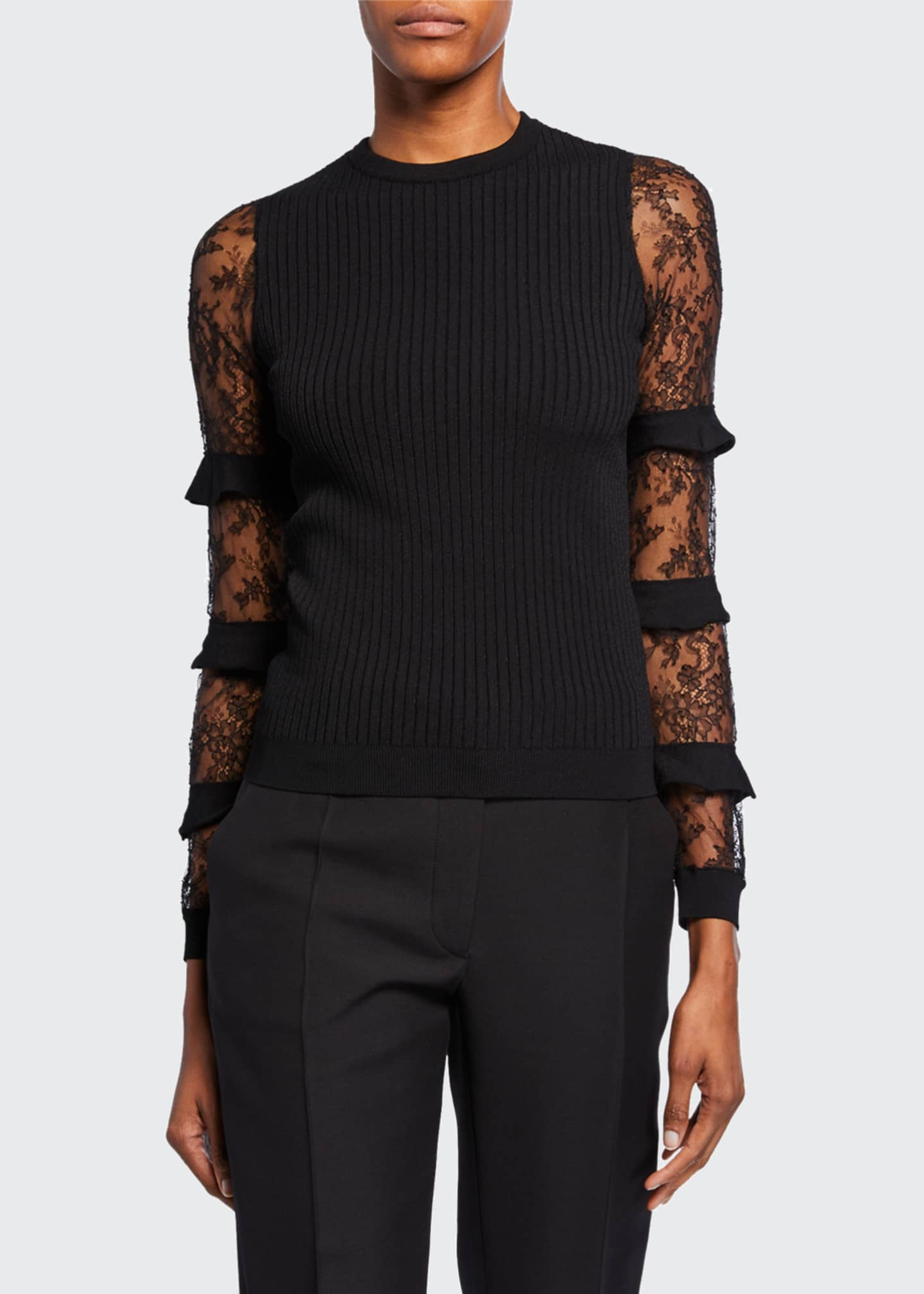 Image 1 of 3: Chantilly-Lace Ruffled Sleeve Sweater