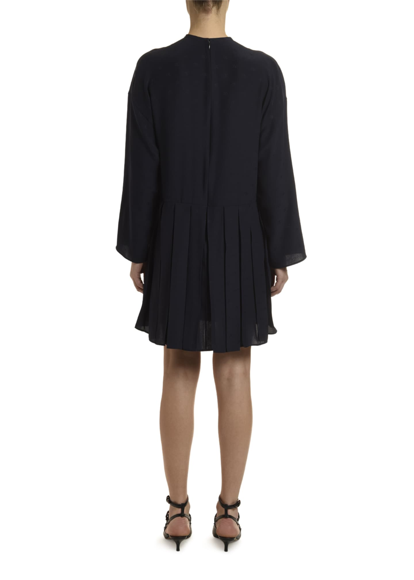 Image 2 of 2: Go Logo Satin Long-Sleeve Tie-Neck Dress
