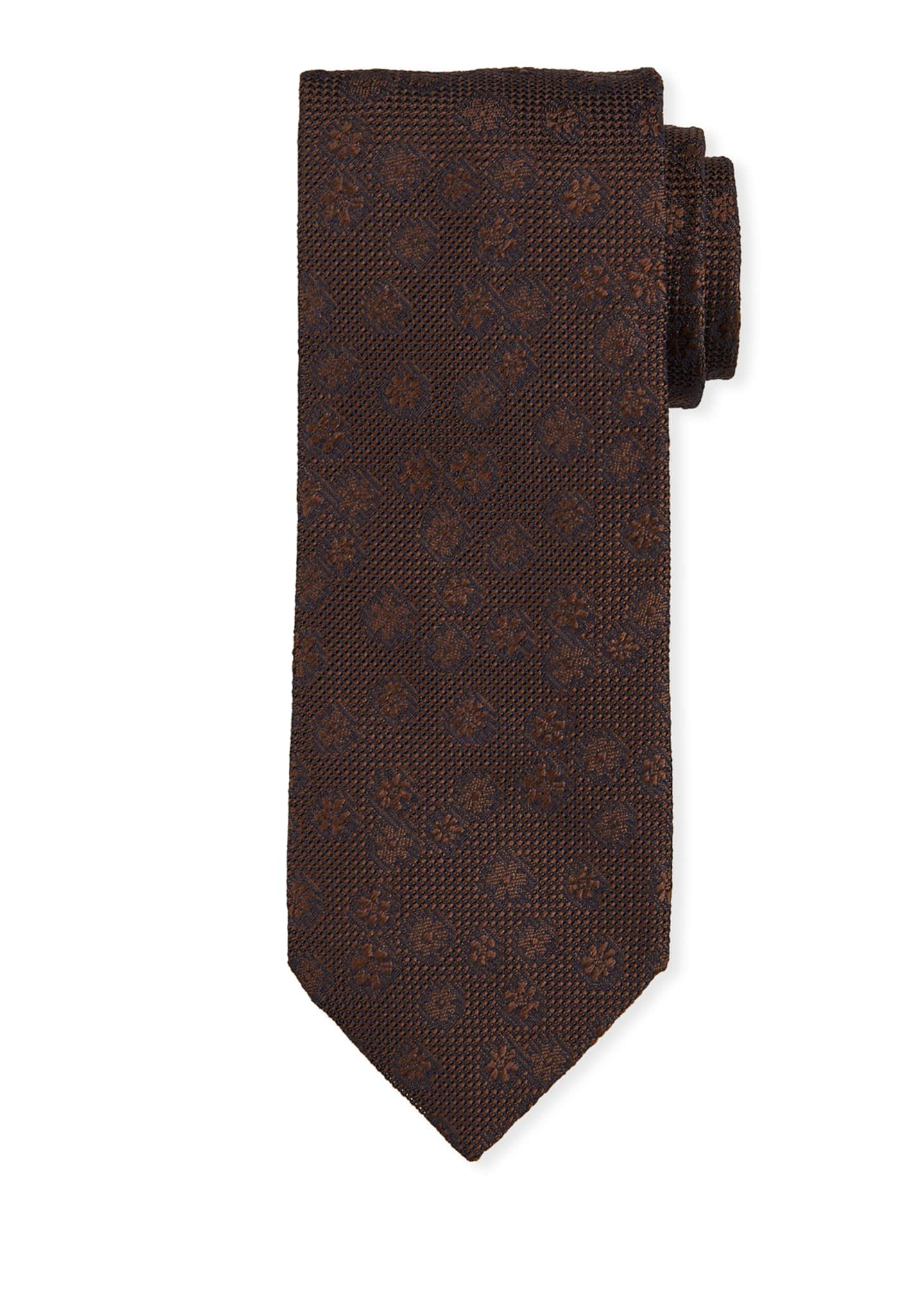 Bigi Tonal Floral Silk Tie, Brown