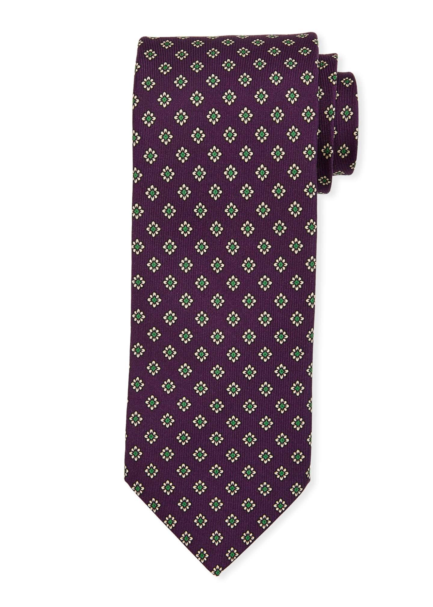 Bigi Medium-Flower Silk Tie, Purple