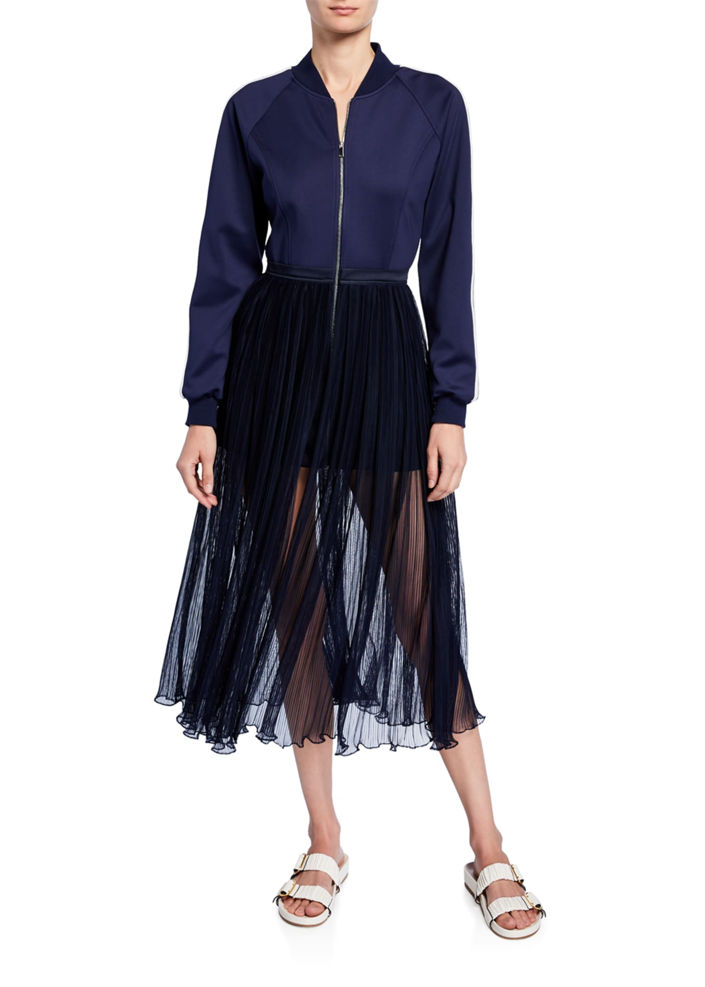 BESFXXK Track-Top Fringe-Skirt Dress