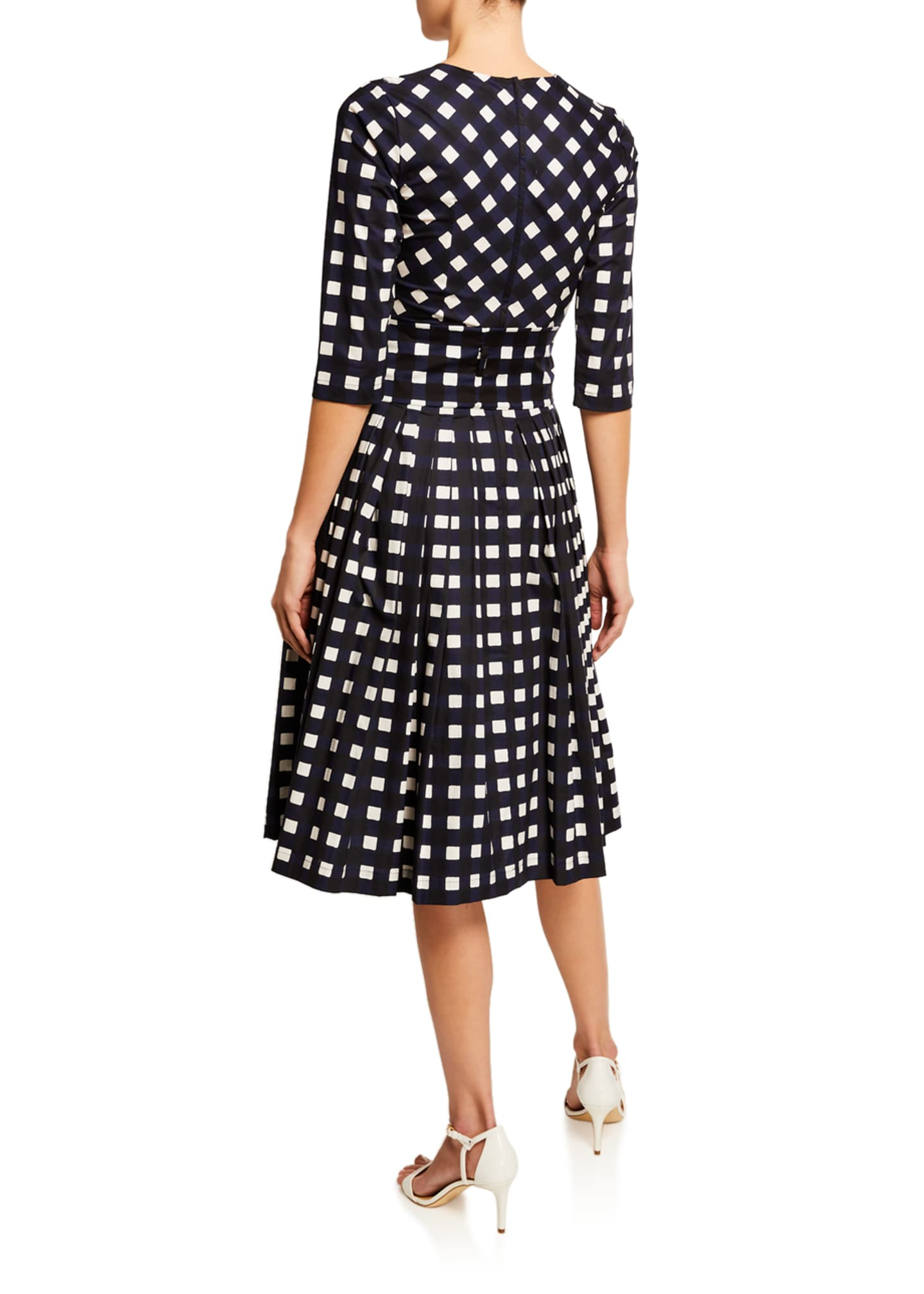 Image 2 of 3: Florence Bomber Check Crewneck 3/4-Sleeve Mod Dress