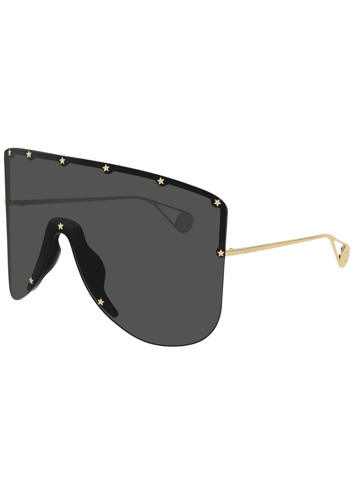 Gucci Men's Star-Trim Shield Sunglasses