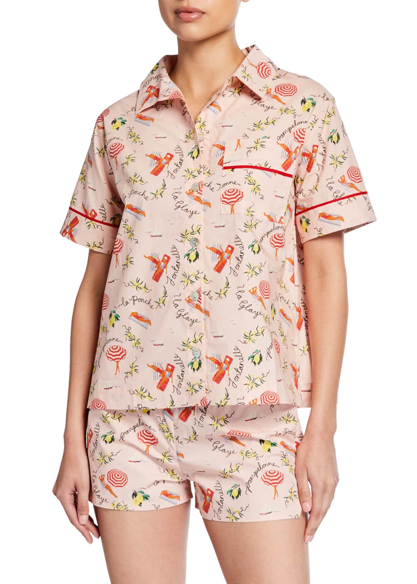Hesper Fox Lulu Short-Sleeve Beach-Print Pajama Shirt