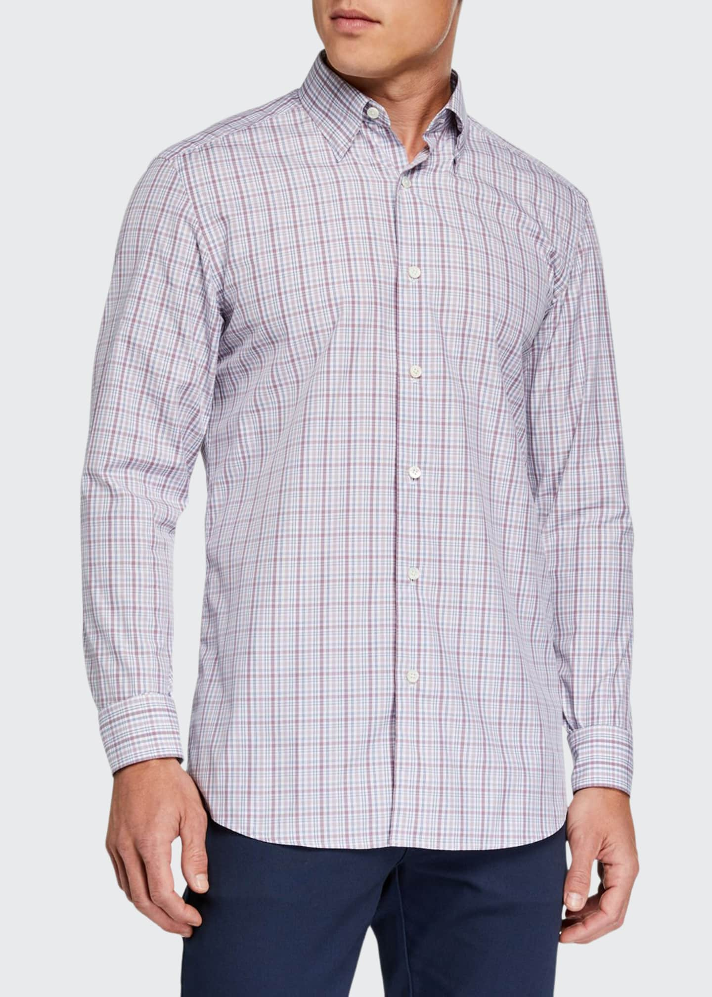 Ermenegildo Zegna Men's Cento Quaranta Plaid Sport Shirt,