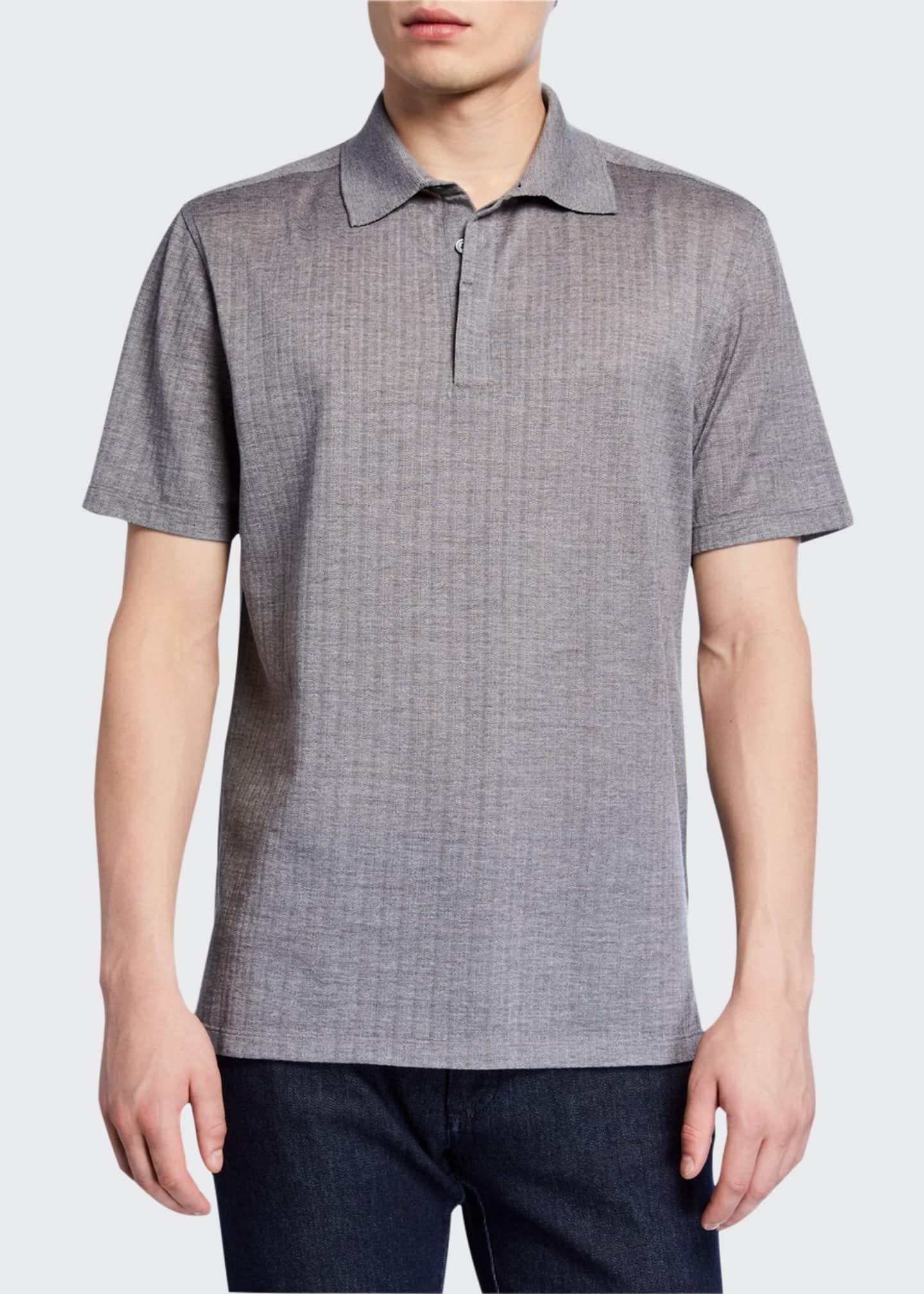 Ermenegildo Zegna Men's Textured Wool-Silk Polo Shirt, Gray