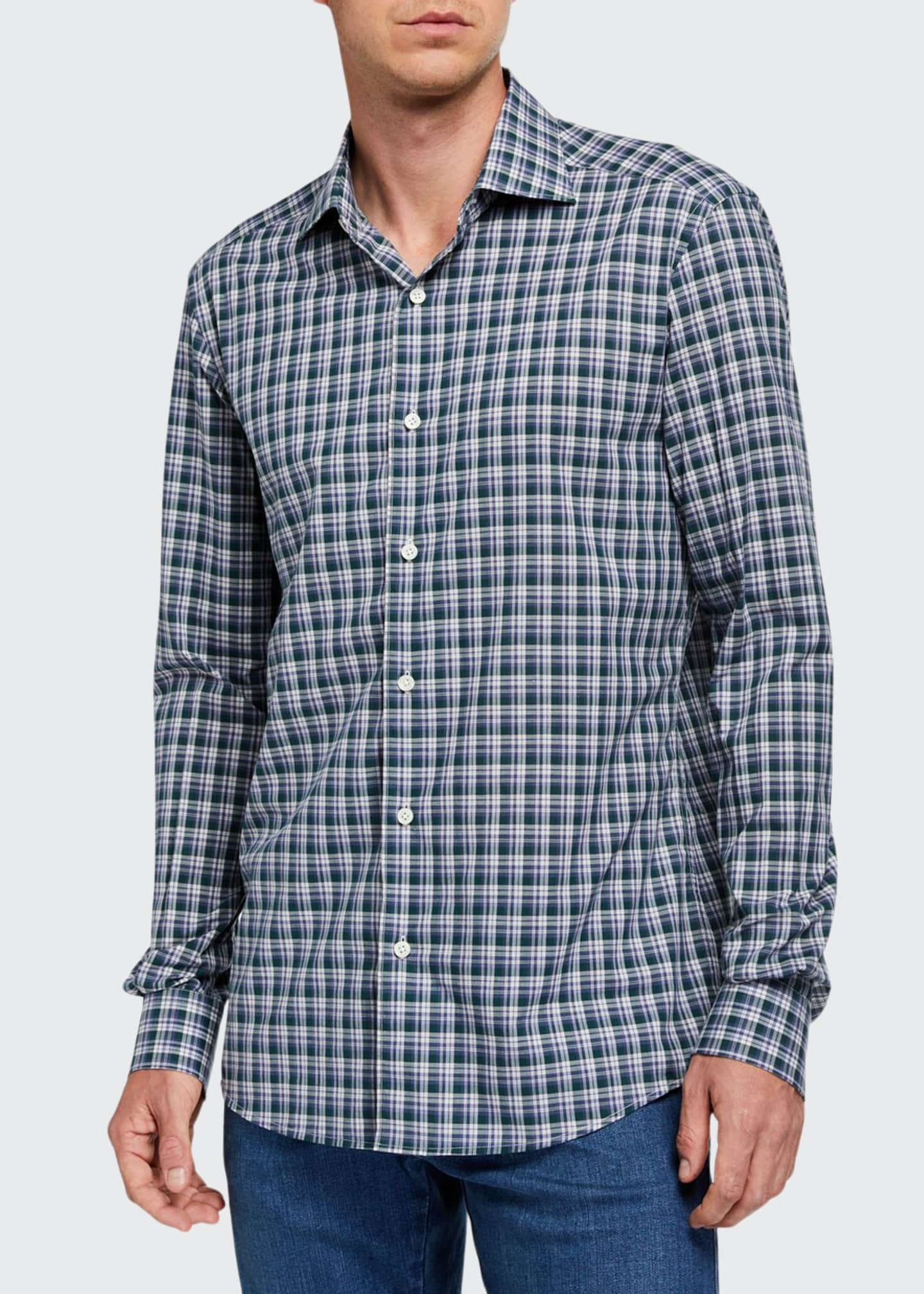 Ermenegildo Zegna Men's Two-Tone Plaid Sport Shirt, Blue/Green