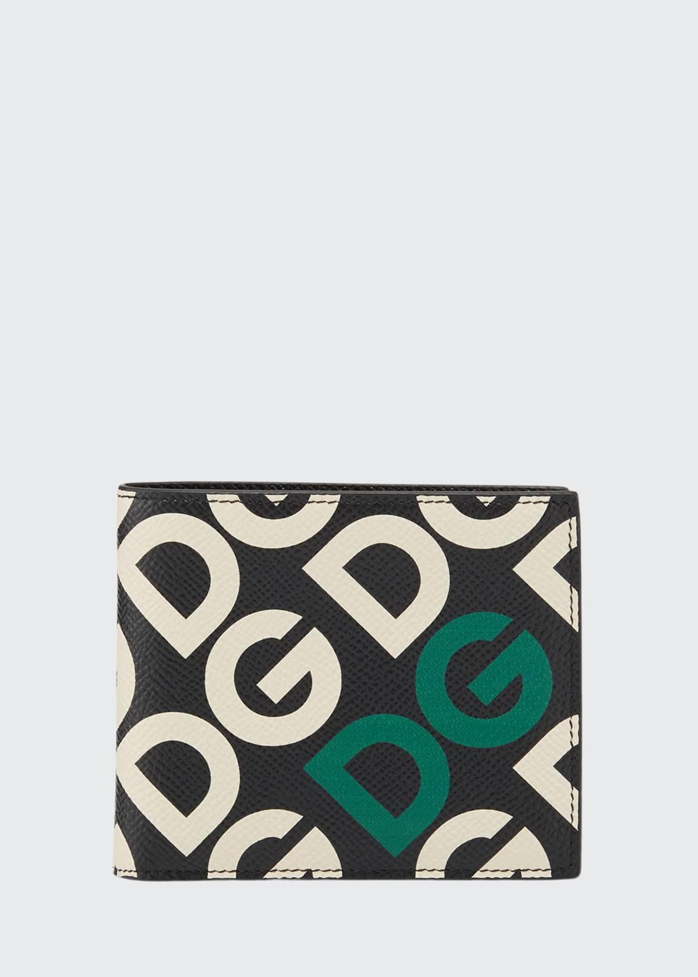 Dolce & Gabbana Men's Logo-Print Leather Bifold Wallet