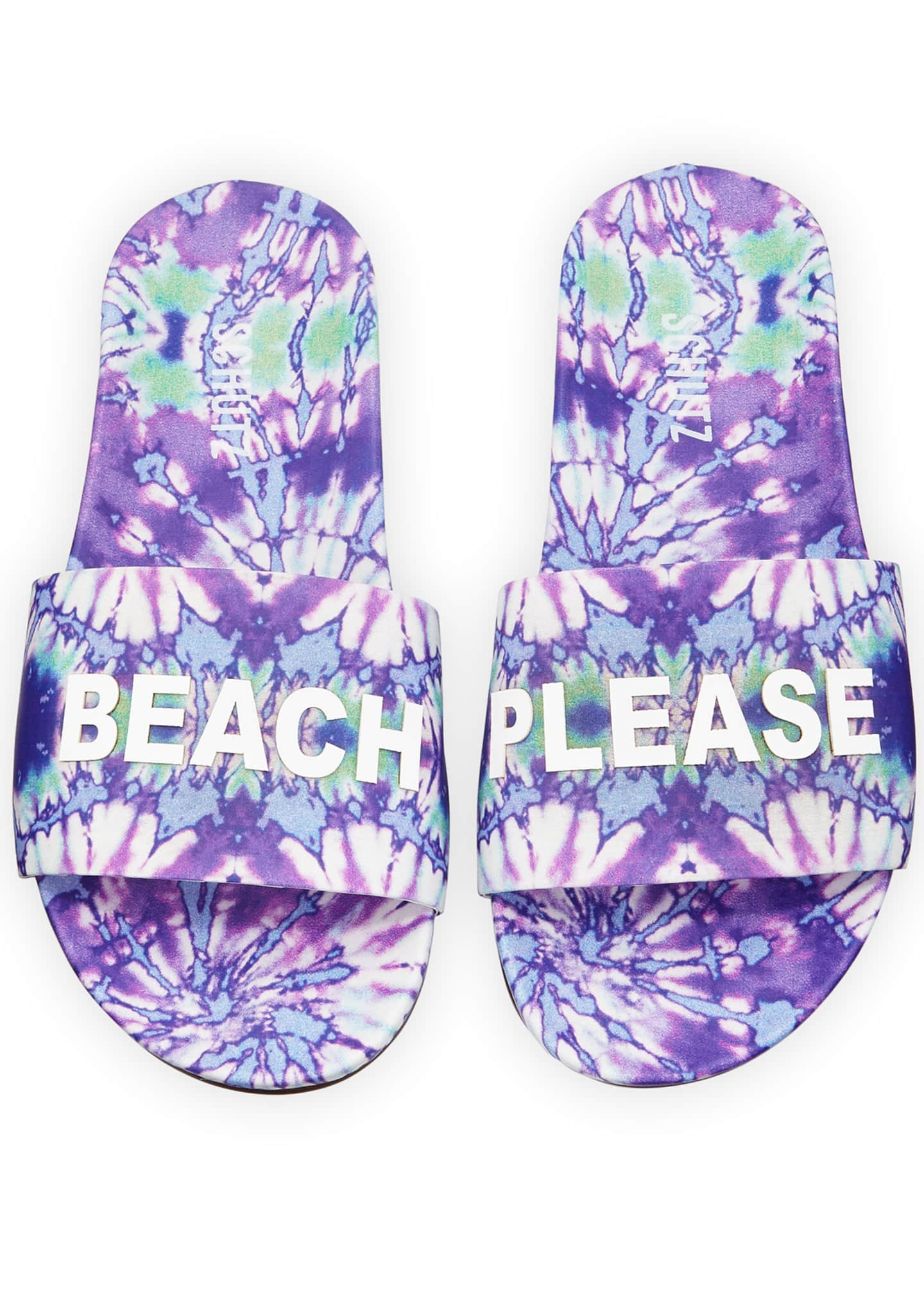 Image 3 of 3: Beach Please Printed Leather Slides