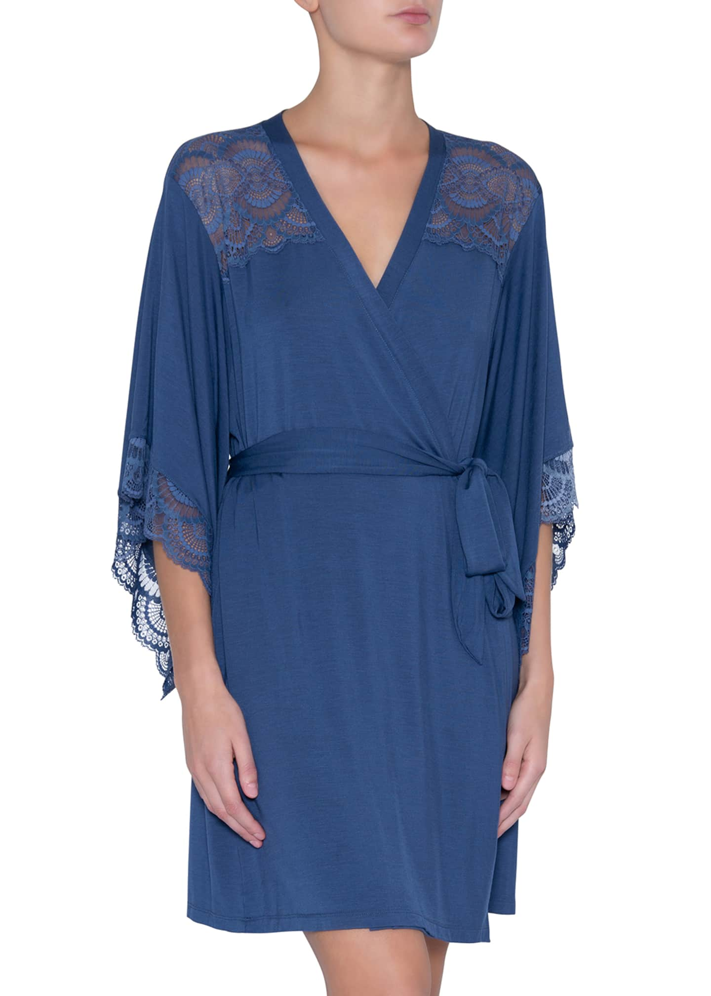 Eberjey Simona Merry Me Lace-Trim Short Robe