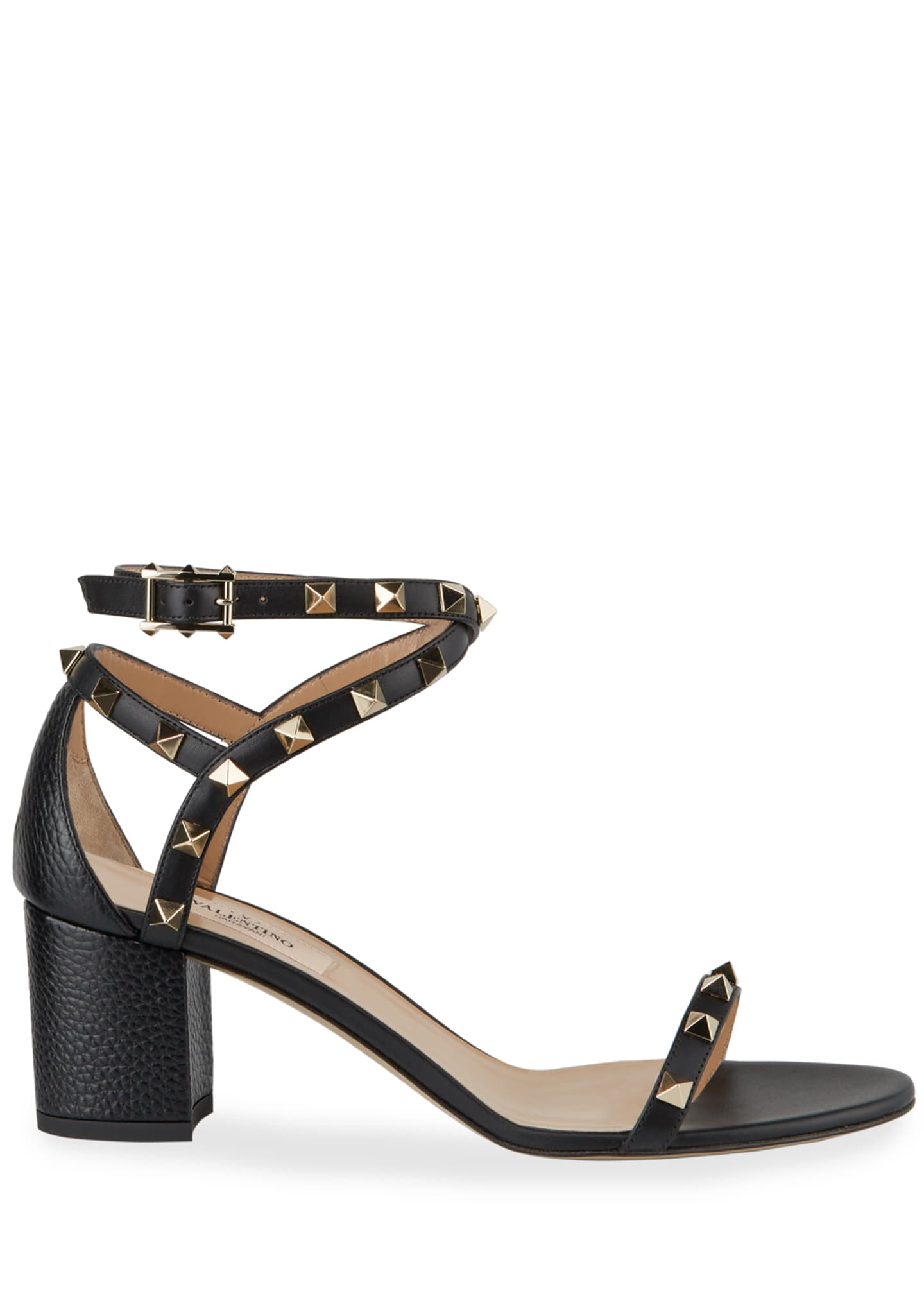 Image 2 of 3: 60 mm Rockstud Leather Sandals