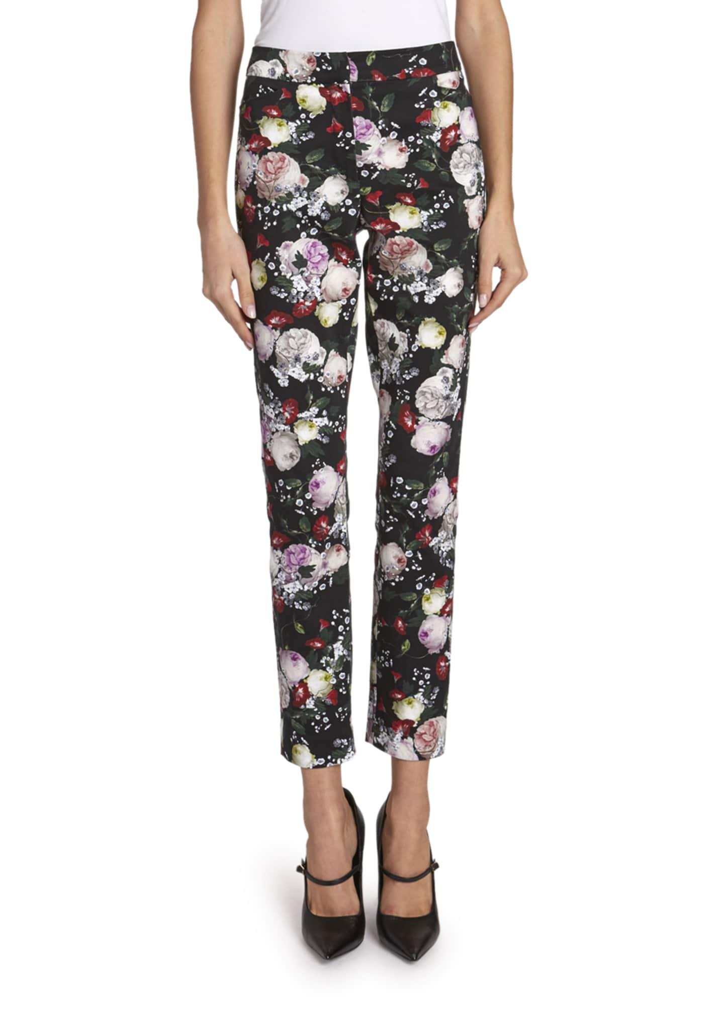Erdem Sidney Floral-Print Pencil-Leg Pants