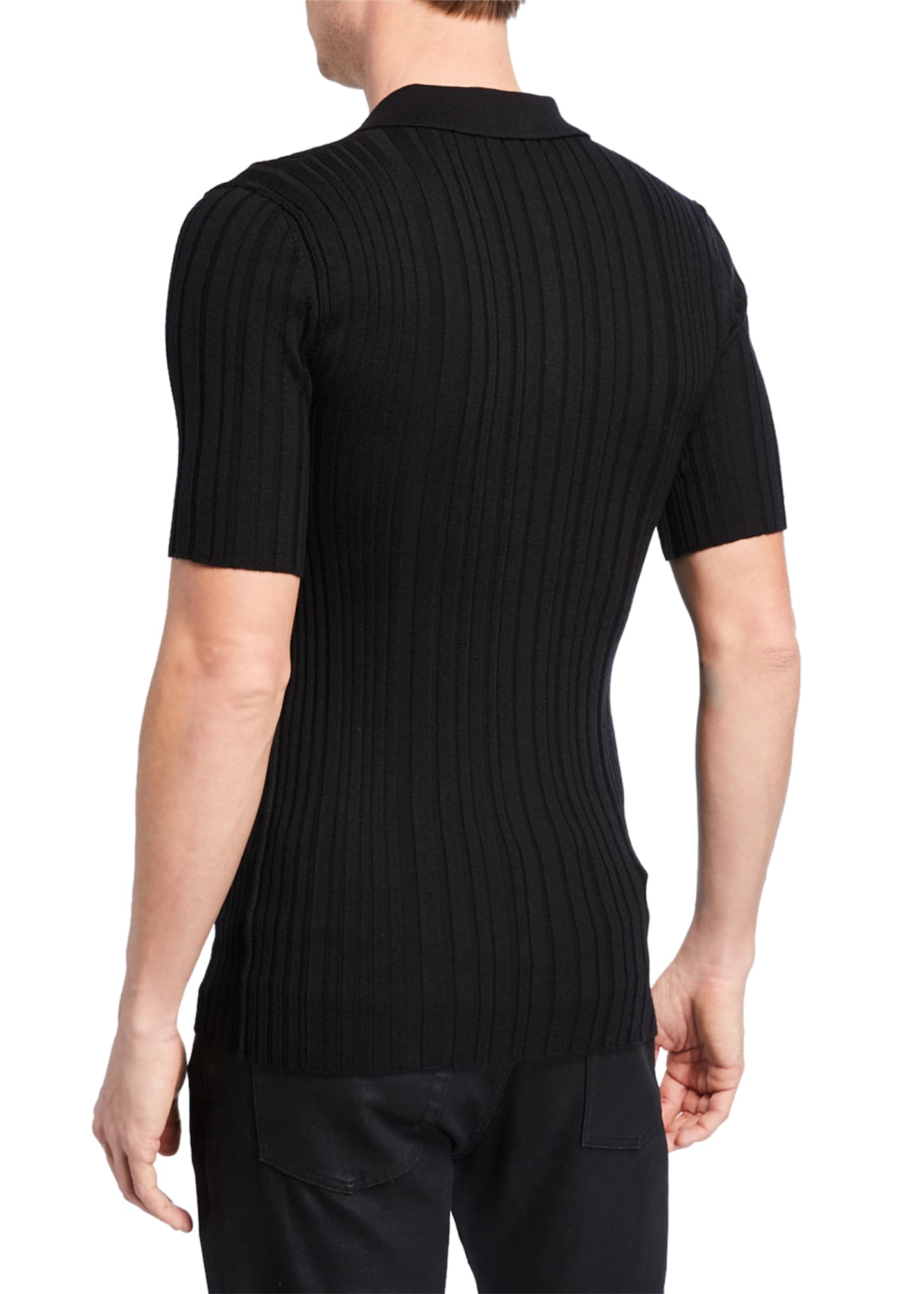 Image 2 of 2: Men's Ribbed Knit Wool Polo Shirt