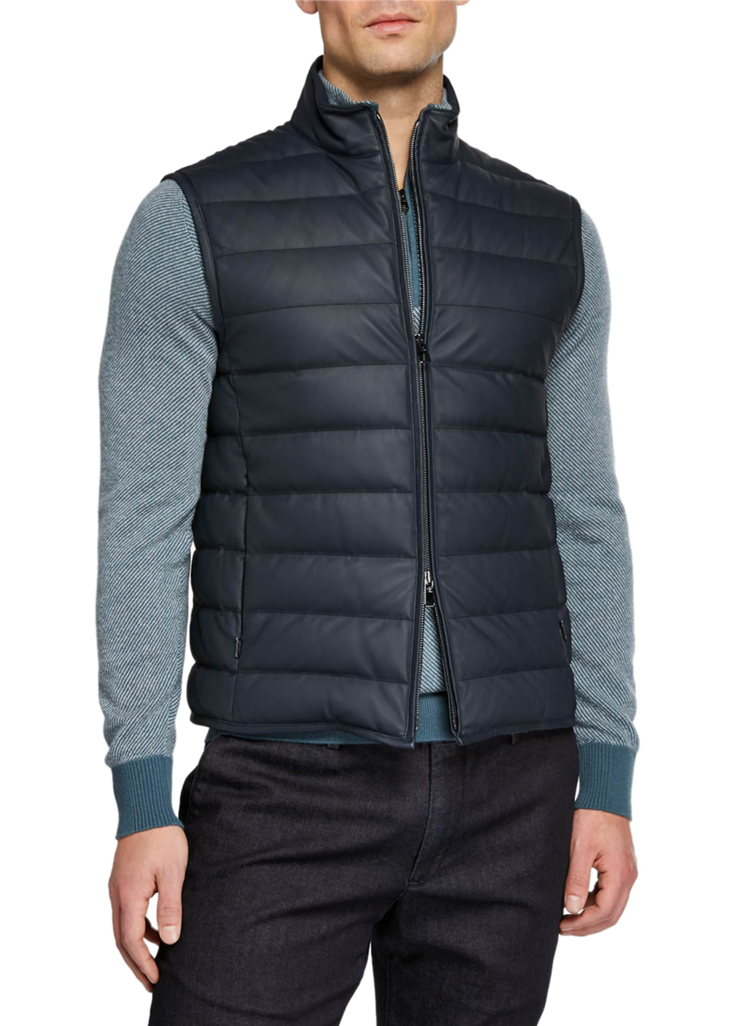 Image 2 of 3: Men's Leather Puffer Vest